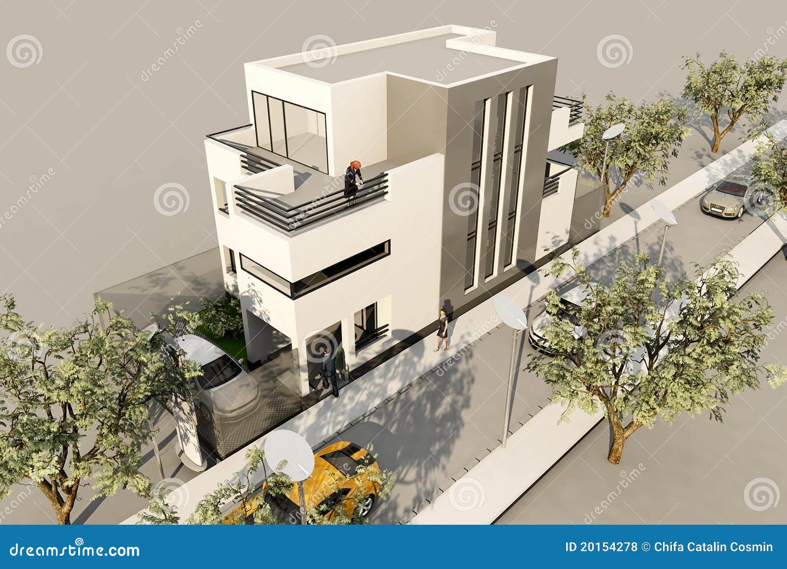 übertragen modernes Haus 3d, in 3ds maximal, auf weißem backg