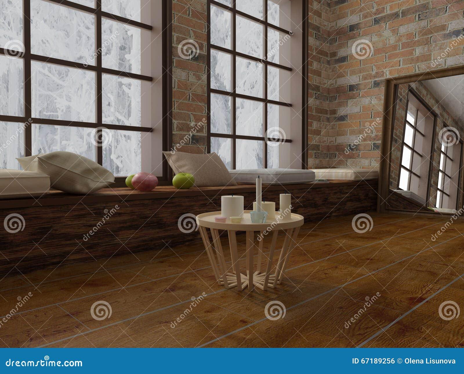 bertragen sie vom couchtisch mit kerzen romantischer geist im modernen dachboden stock. Black Bedroom Furniture Sets. Home Design Ideas