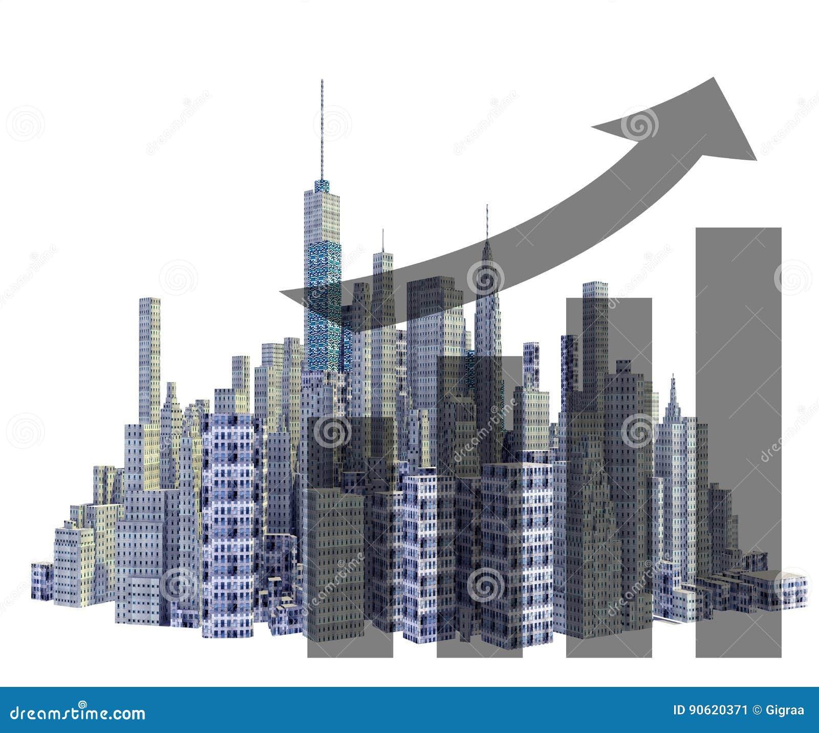 Übertragene Skyline der Stadt 3d mit Finanzwachstum
