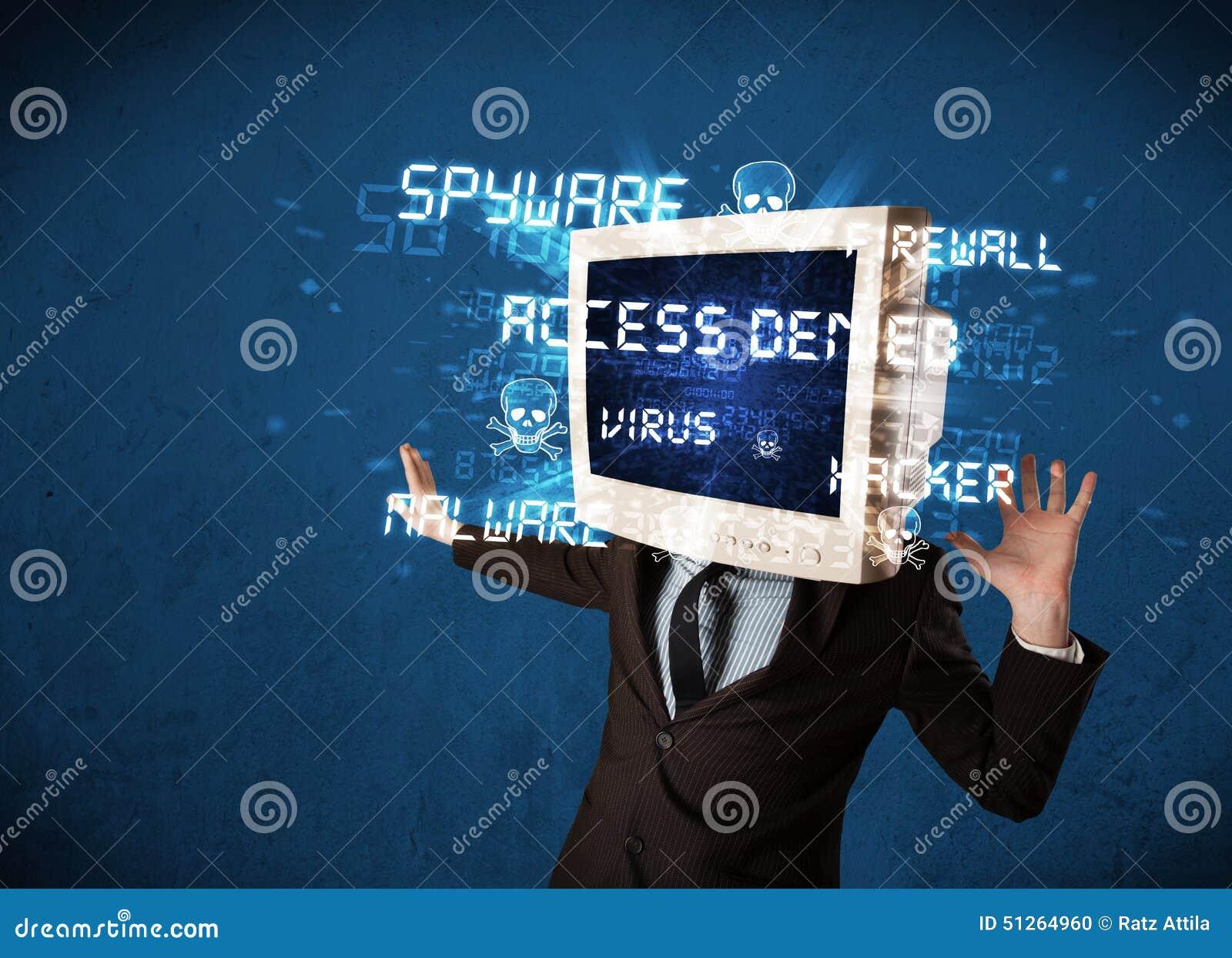 Überwachen Sie Hauptperson mit Hackerart von Zeichen auf dem Schirm