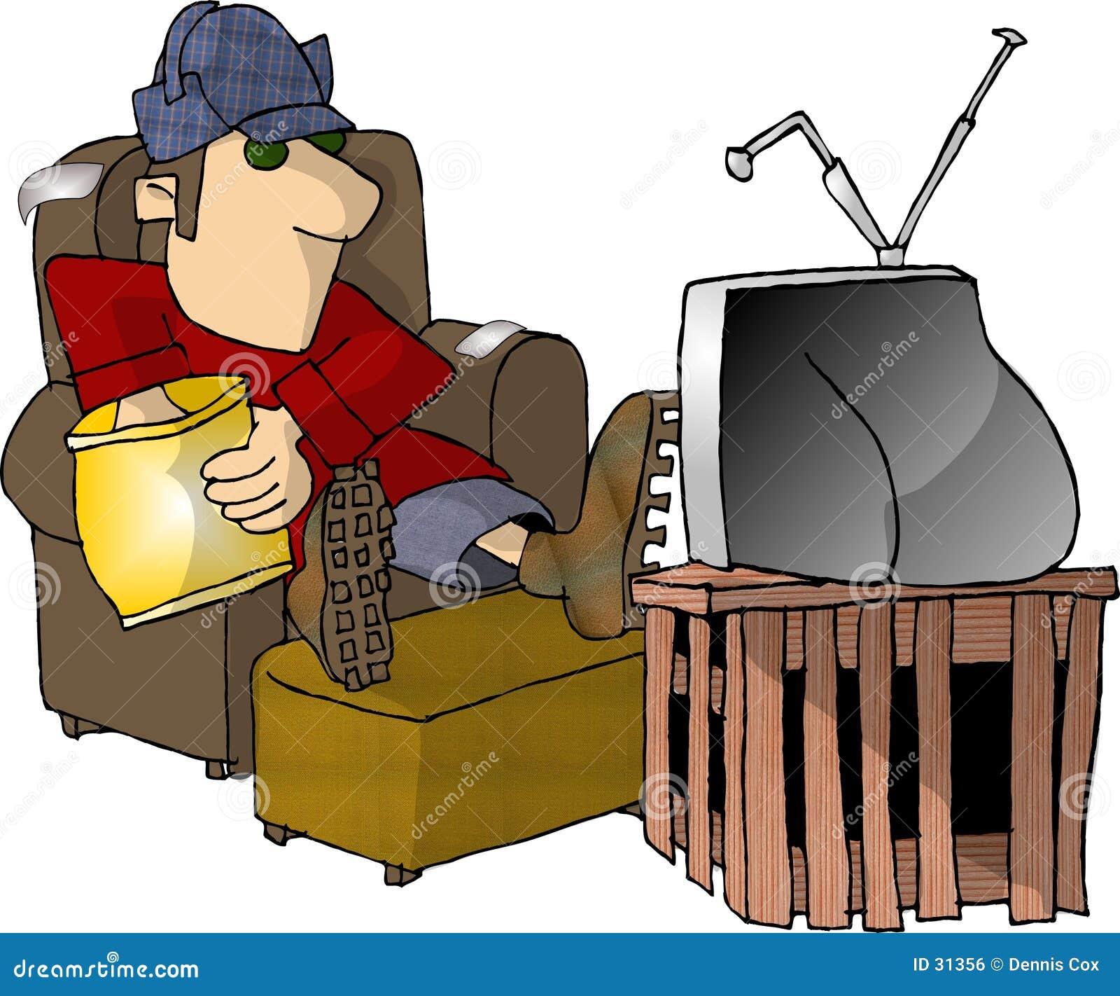 Überwachender Fernsehapparat und Essen der Imbisse