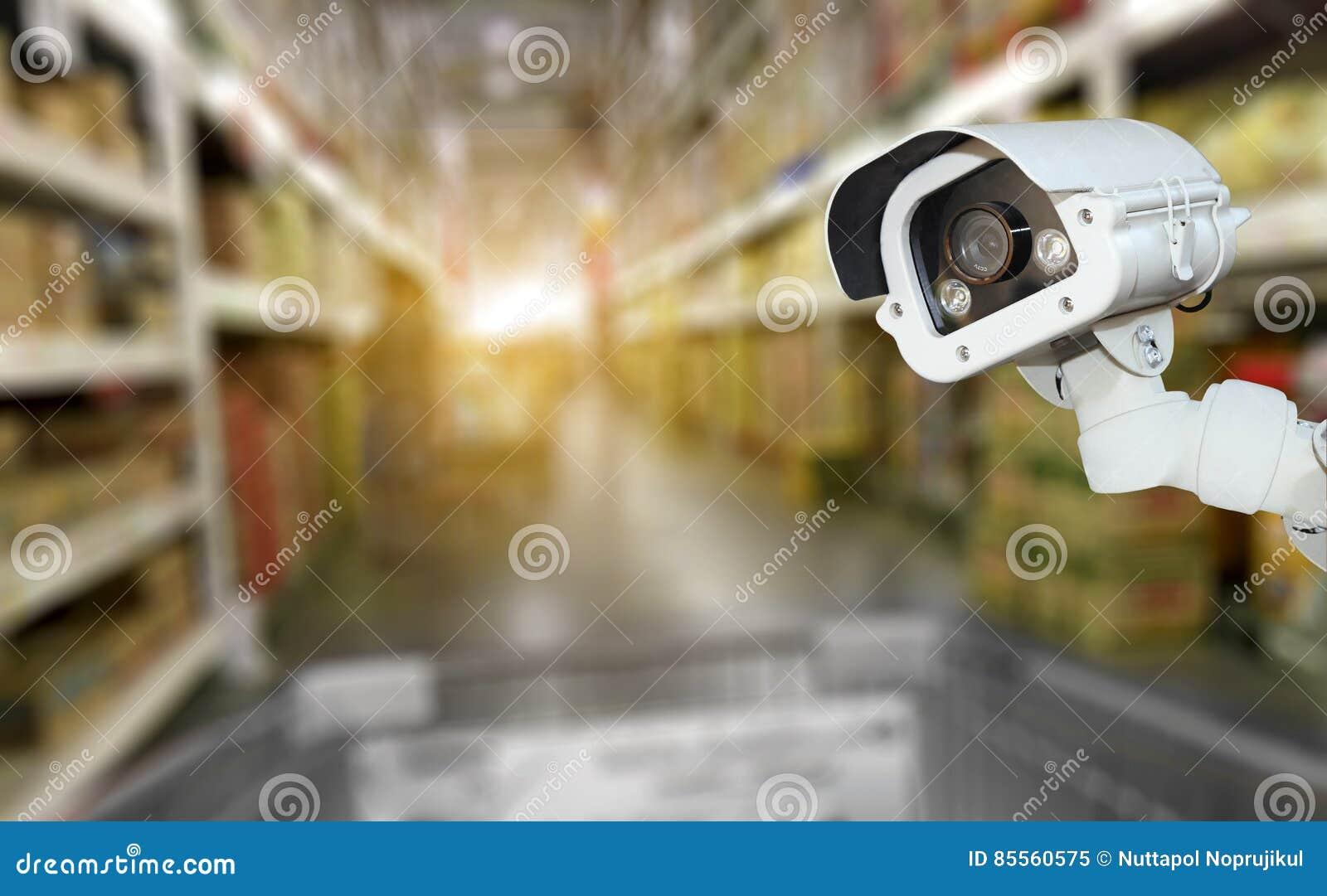Überwachungskamerasystemsicherheit im Einkaufszentrumsupermarkt-Unschärfeba