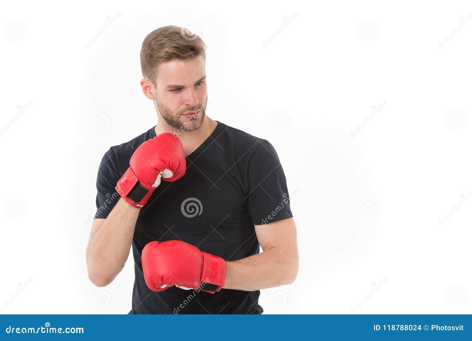 Überzeugter Boxer Sportlertraining mit Boxhandschuhen Verpackenkonzept Starkes Gesicht des Mannes Athlet mit Sporthandschuhen