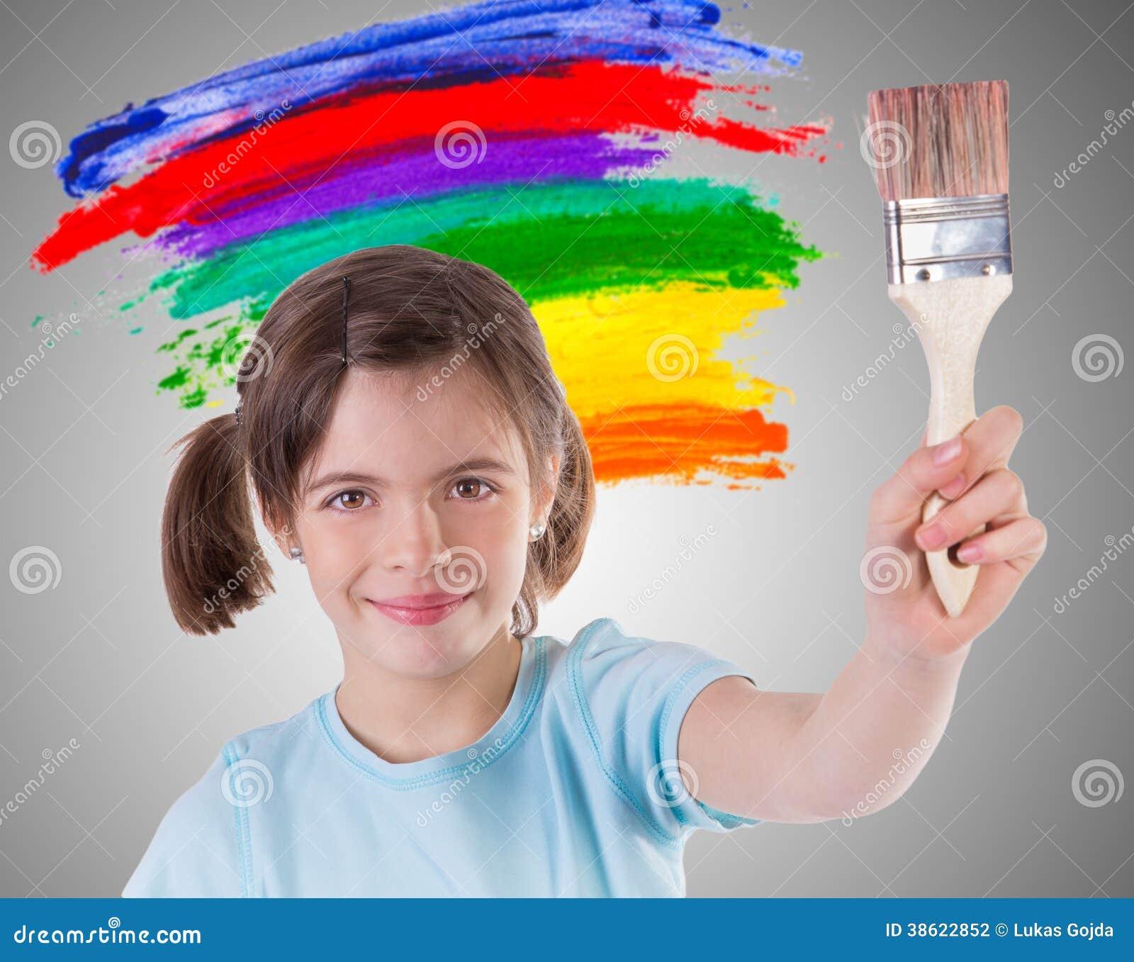 美好的小女孩绘画 图库摄影