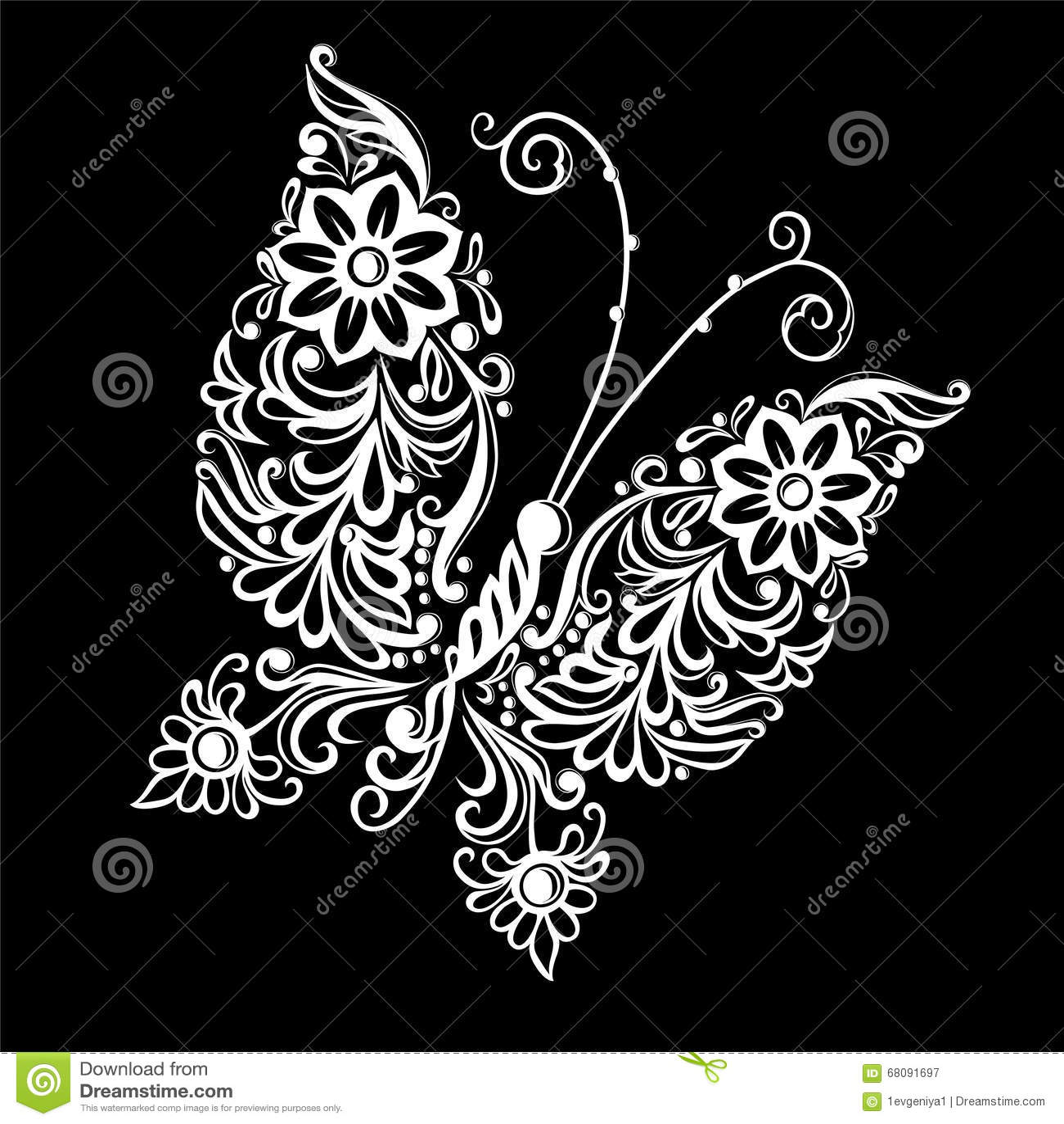 美丽的单色黑白蝴蝶 纹身花刺设计或mehandi