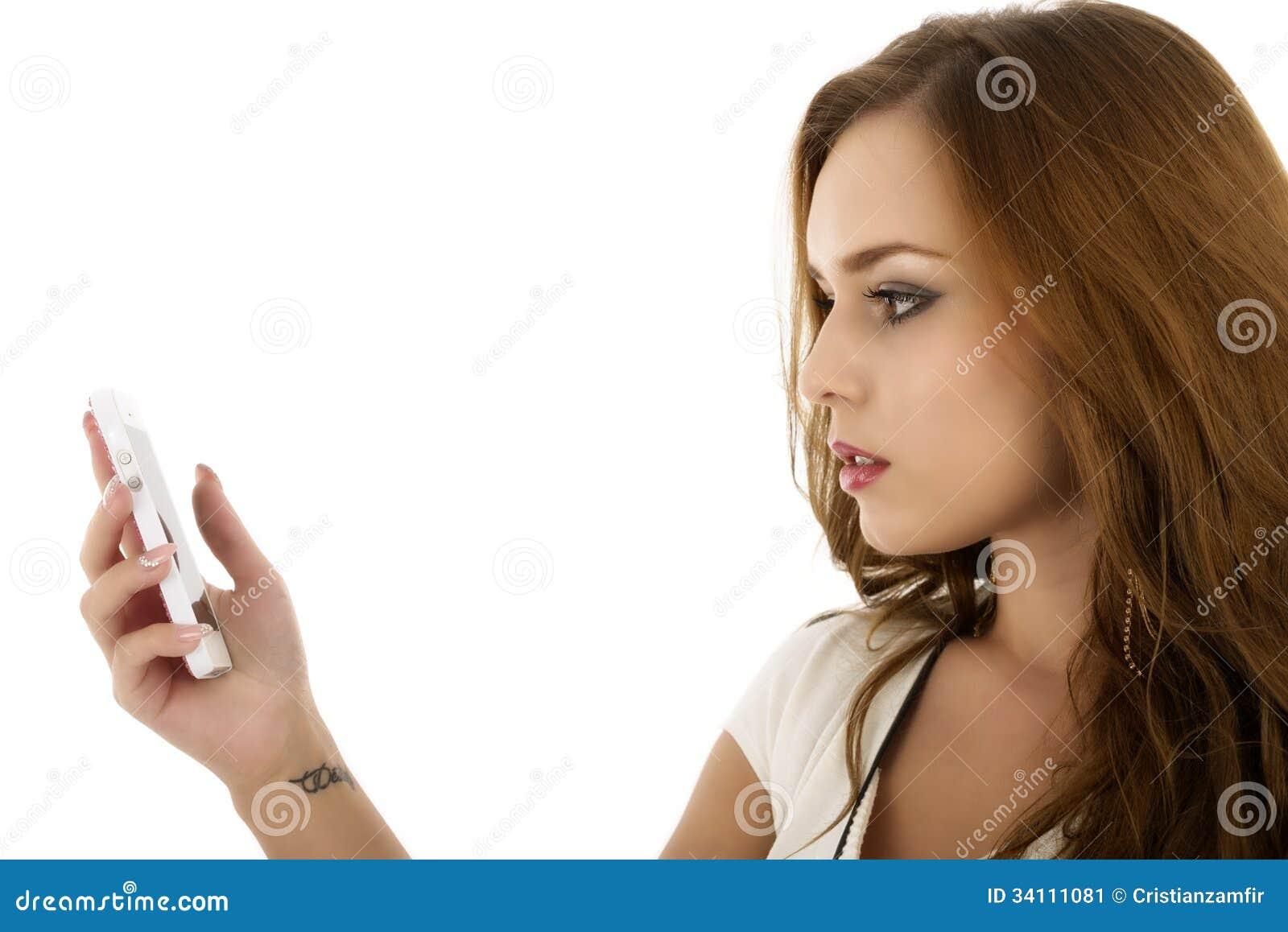 美丽的女孩画象有现代的在手isola