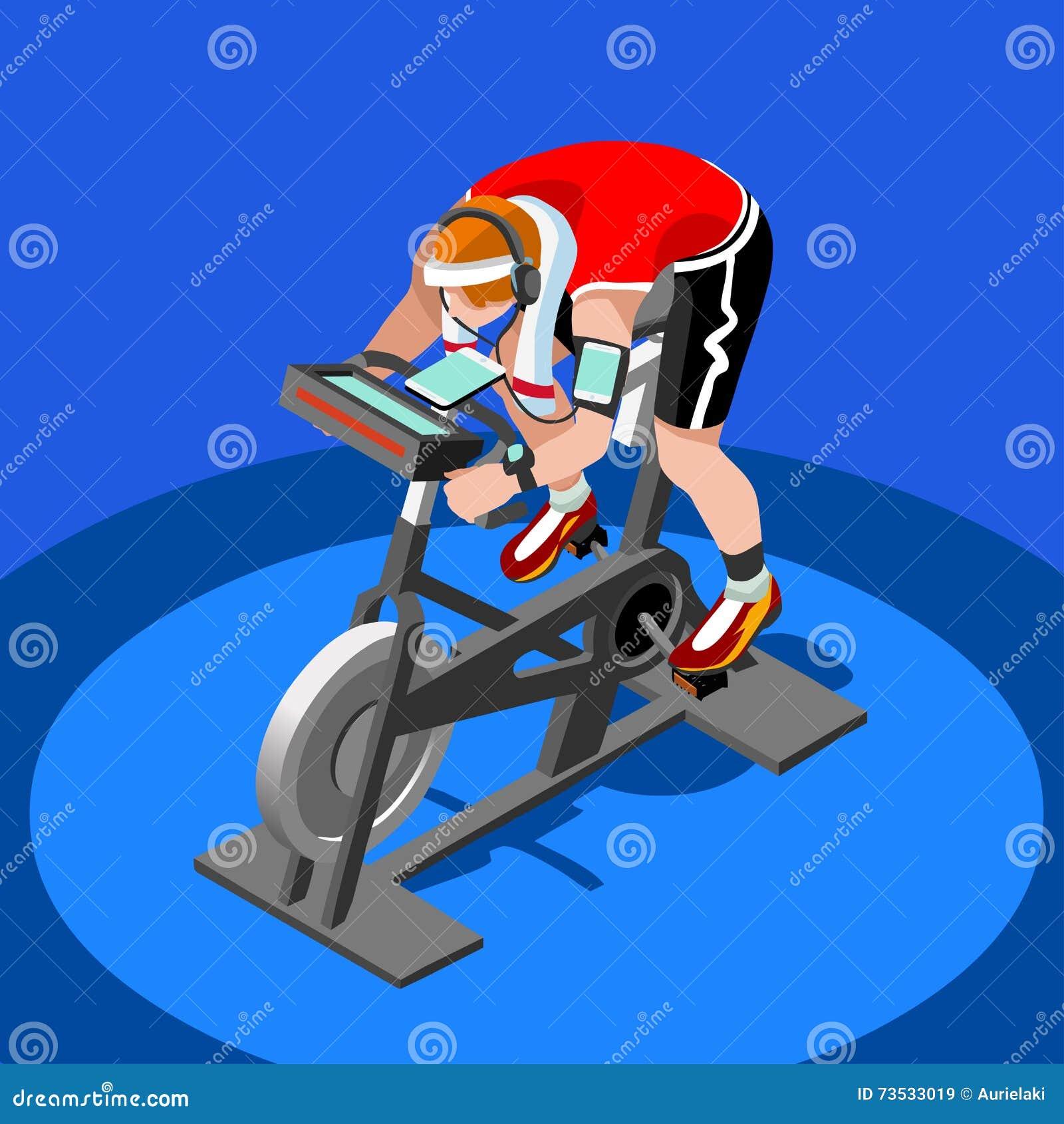 Ćwiczenie roweru sprawności fizycznej Przędzalniana klasa 3D sprawności fizycznej Płaski Isometric Przędzalniany rower