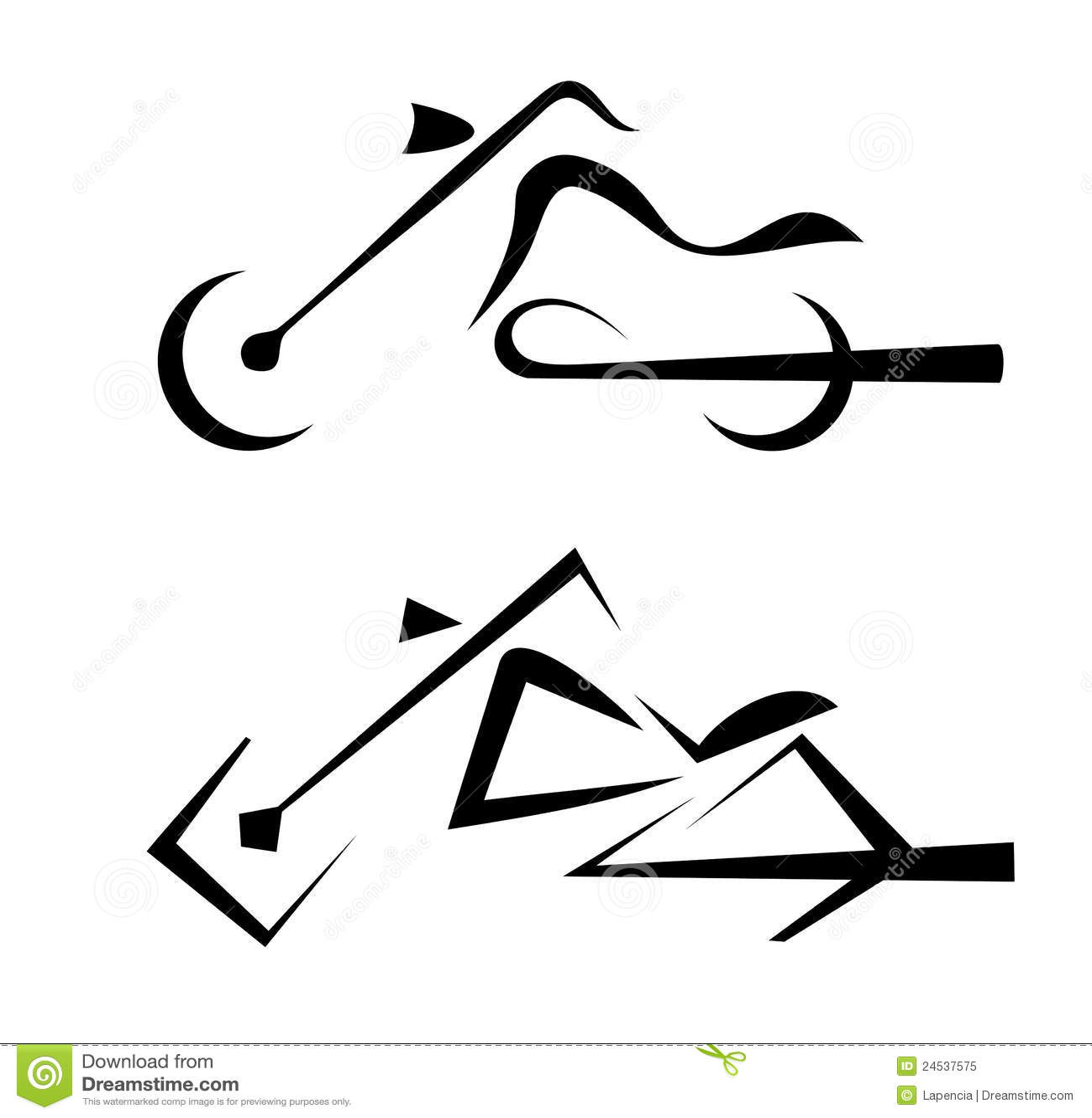 摩托车符号纹身花刺 免版税库存照片 - 图片: 24537575