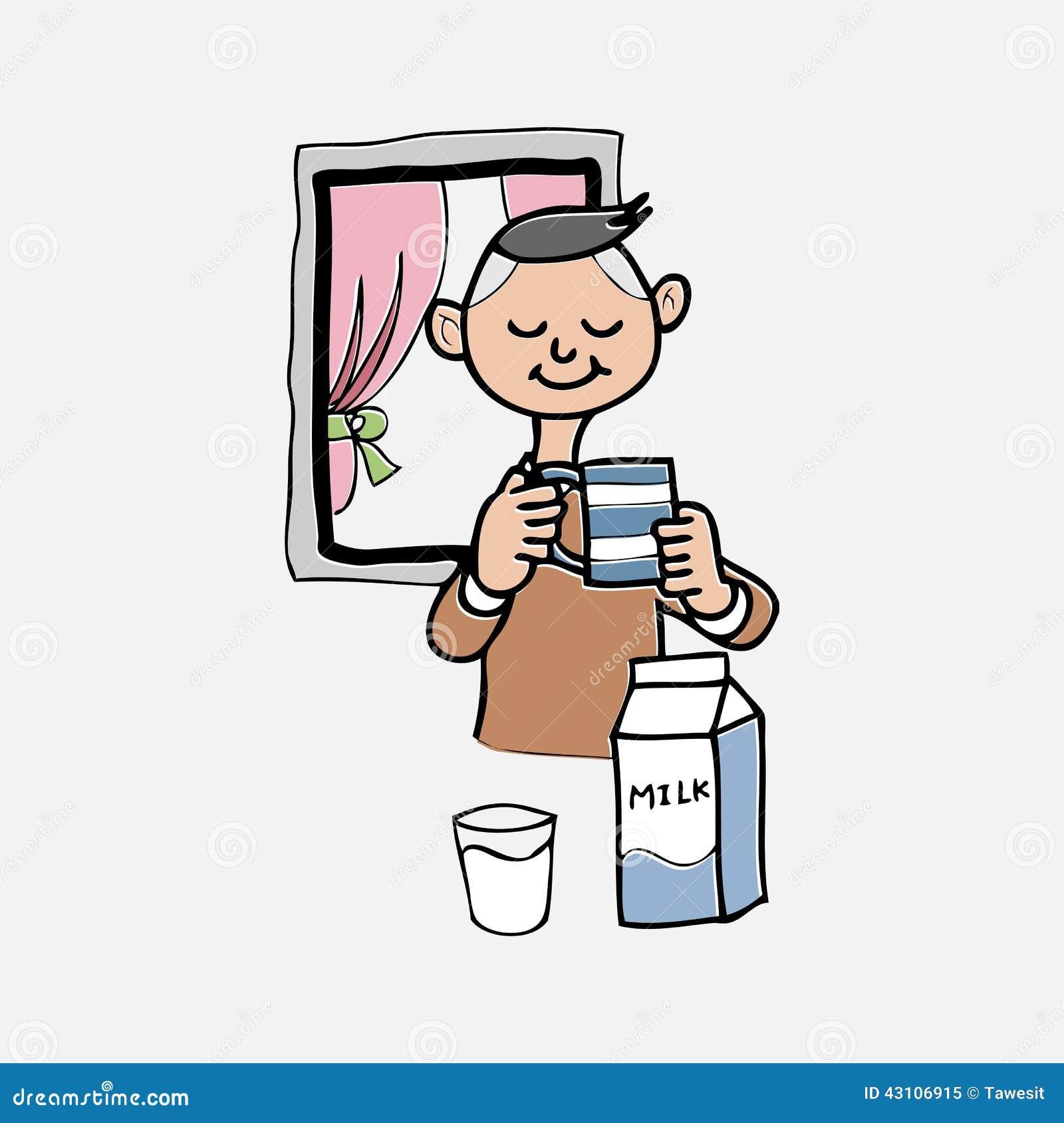 男孩喝牛奶漫画人物