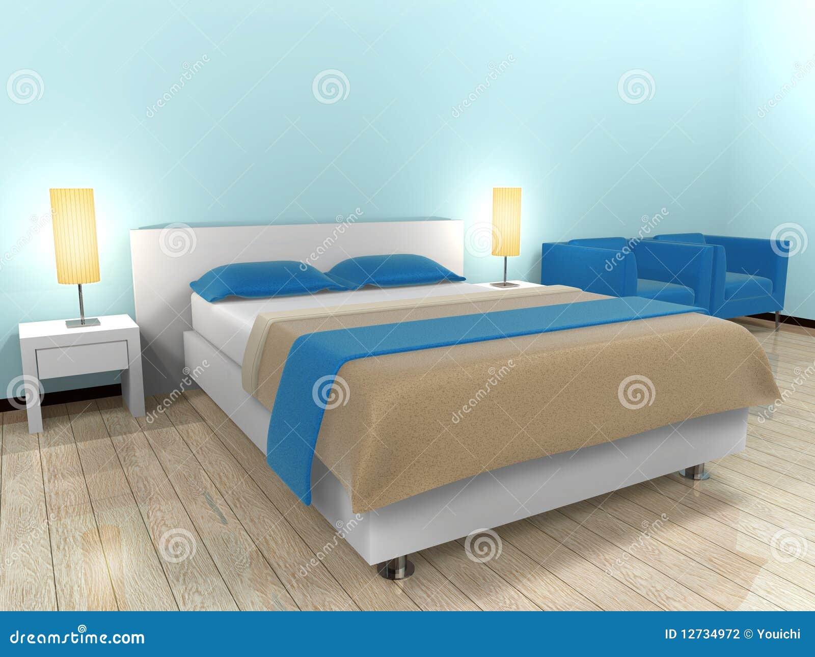 łóżkowy błękitny pokój