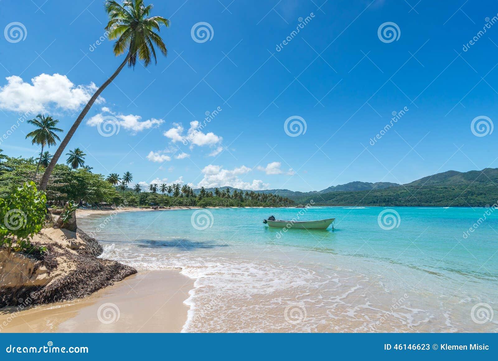 Łódź na turkusowym morzu karaibskim, Playa Rincon, republika dominikańska, wakacje, wakacje, drzewka palmowe, plaża