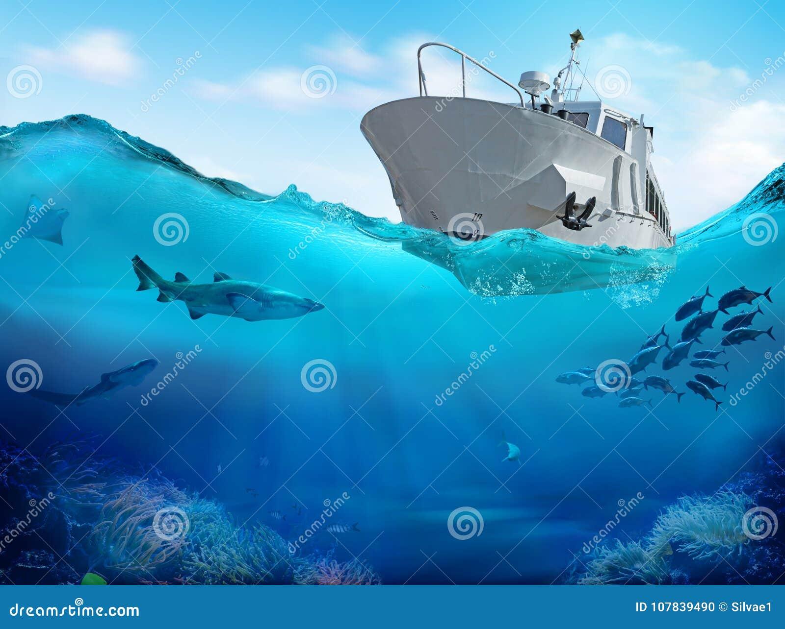 Łódź Rybacka w morzu ilustracja 3 d