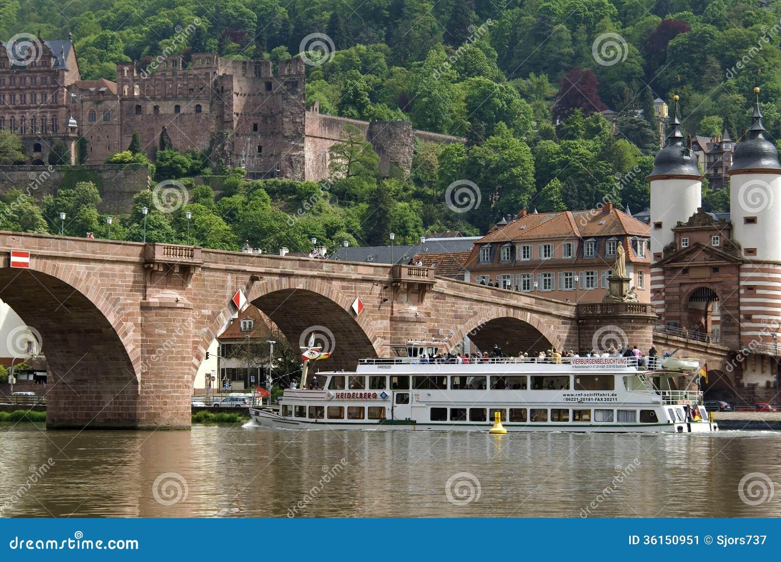 Łódkowata wycieczka na Neckar rzece, Heidelberg, Niemcy
