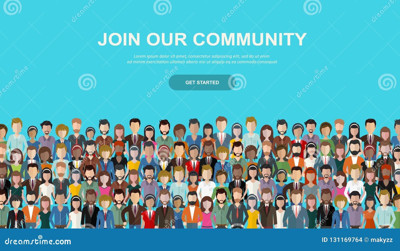 Łączy Nasz społeczności Tłum zlani ludzie jako biznes lub kreatywnie społeczność stoi wpólnie Płaski pojęcie