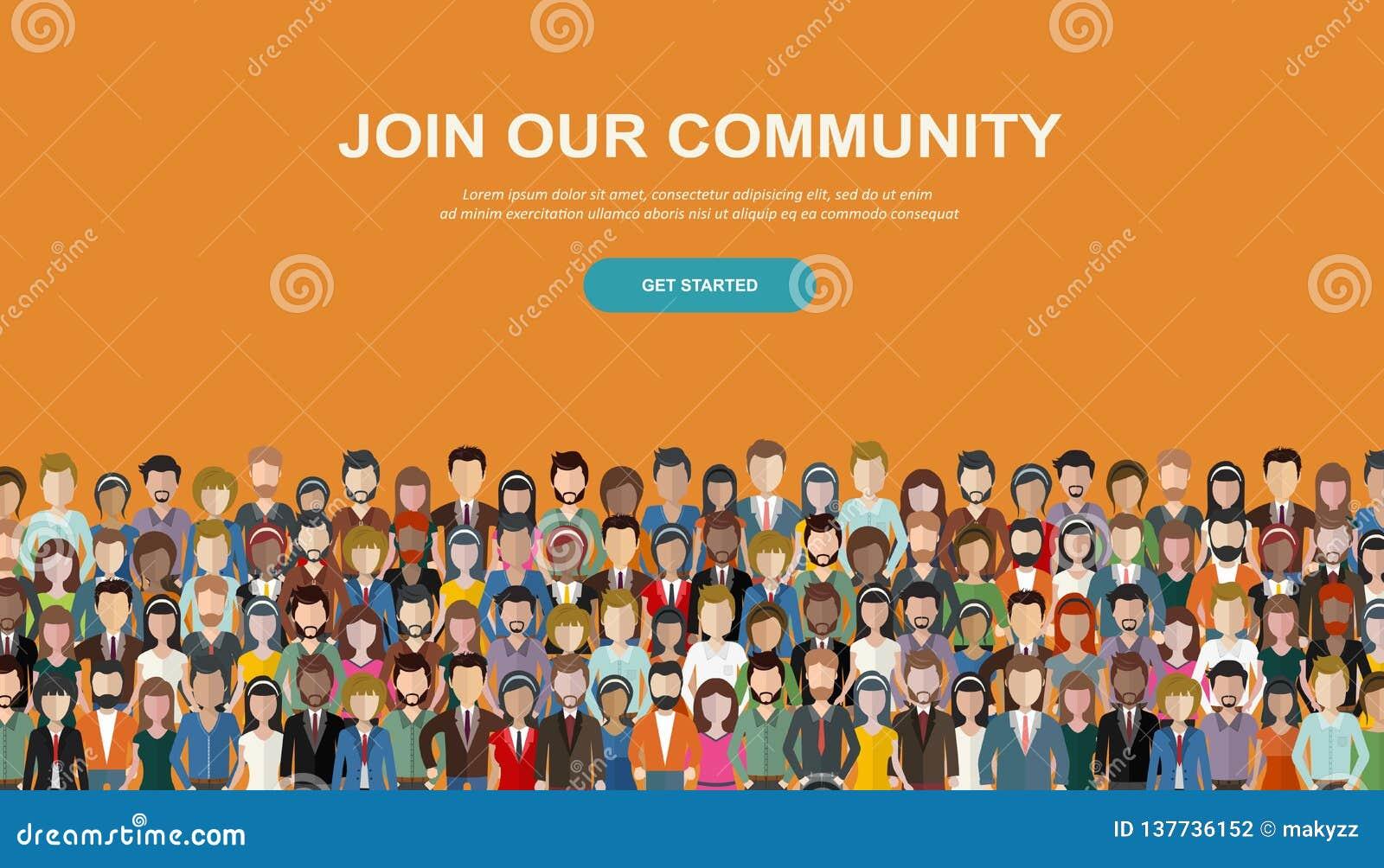 Łączy Nasz społeczności Tłum zlani ludzie jako biznes lub kreatywnie społeczność stoi wpólnie Płaski pojęcie wektor