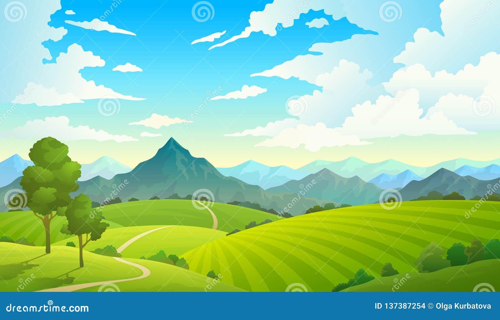 Łąki z górami Krajobrazowej wzgórza pola góry ziemi nieba natury dzikiej trawy wsi lasowy drzewo Lato ziemia