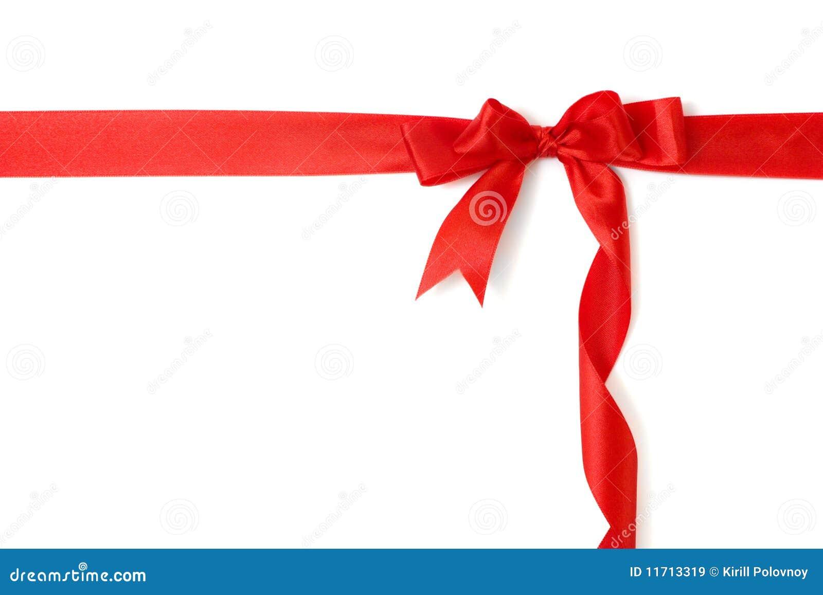 łęku prezent odizolowywający nad czerwonym tasiemkowym biel
