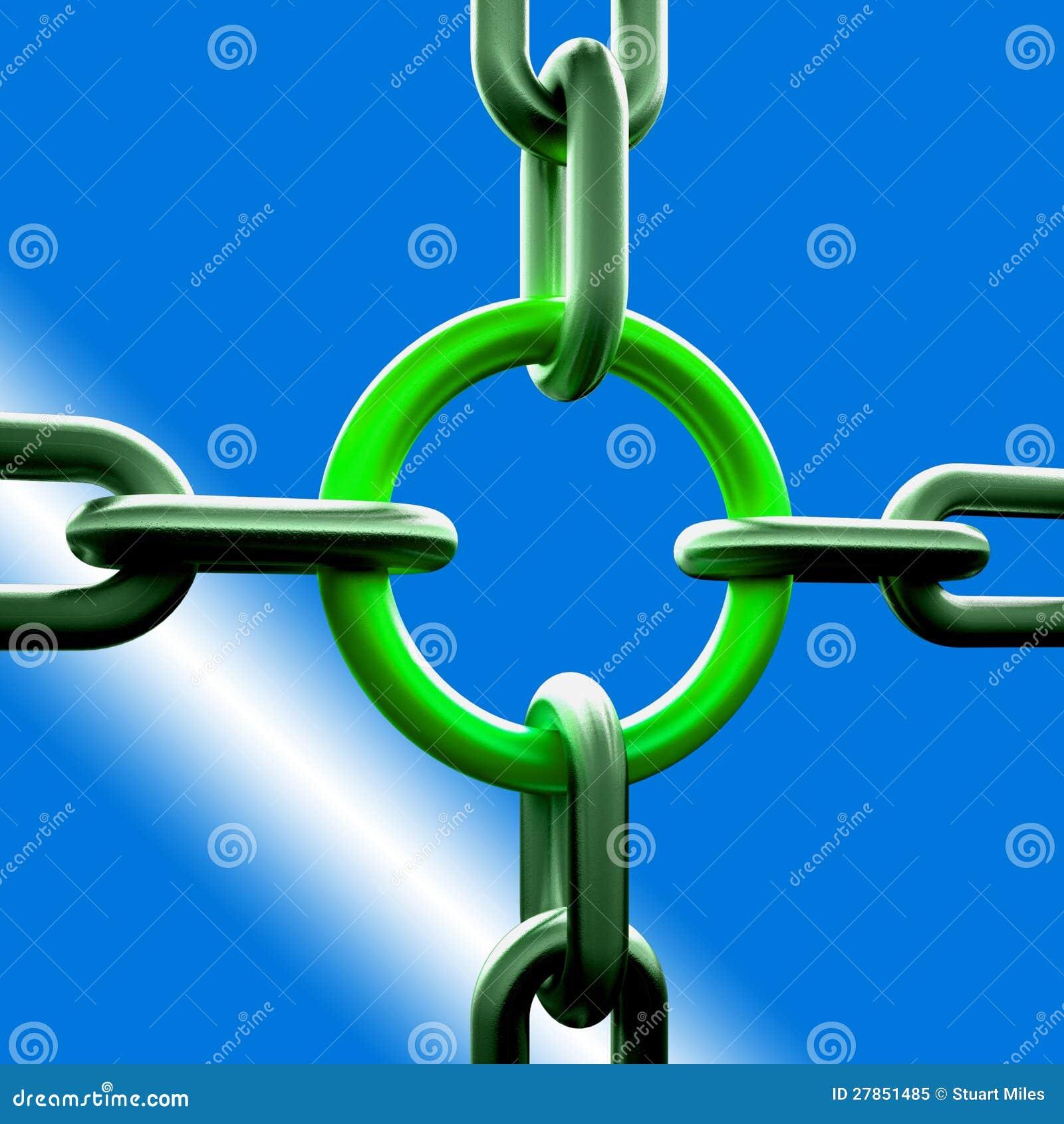 Łańcuchu zielony Połączenie Pokazywać Siły Ochronę