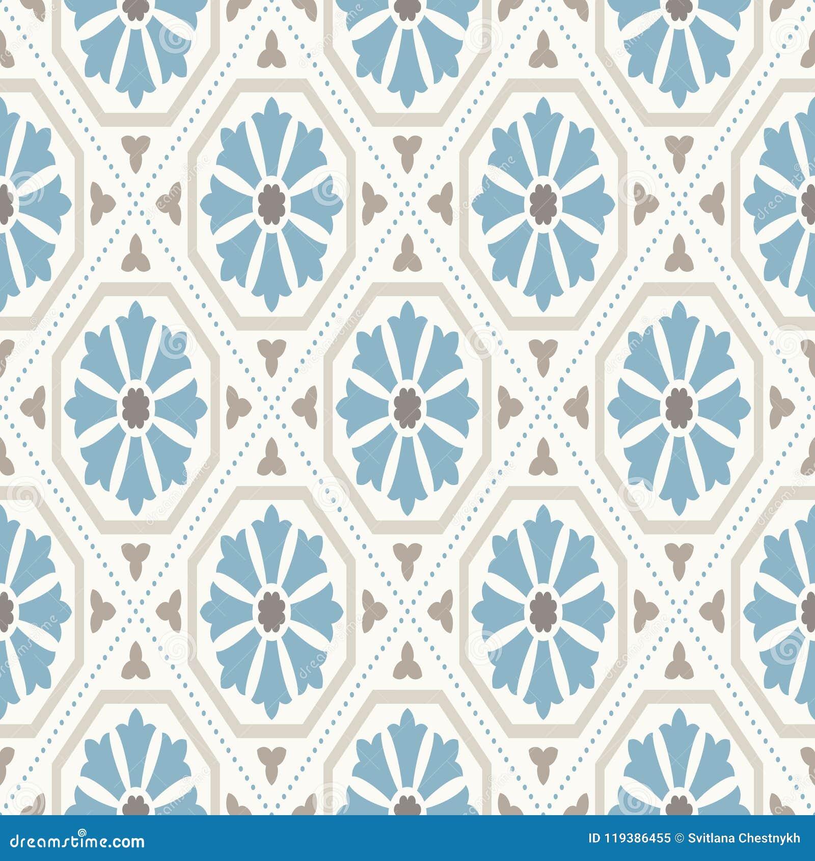 ładnego ornamentu retro rocznika tapeta Nowożytny geometryczny wzór, inspirowany starymi tapetami Ładni retro kolory popielaty be