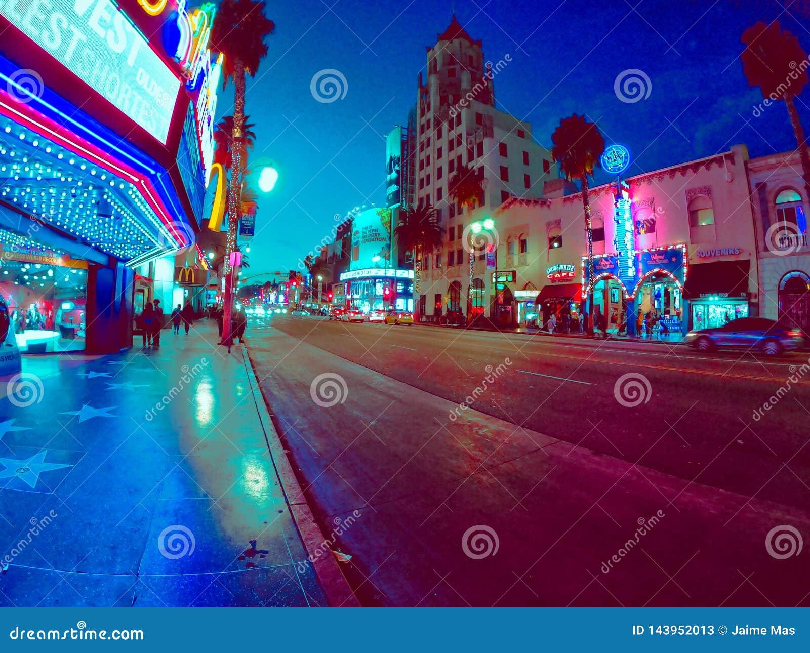 Ładni noc widoki miasto w California