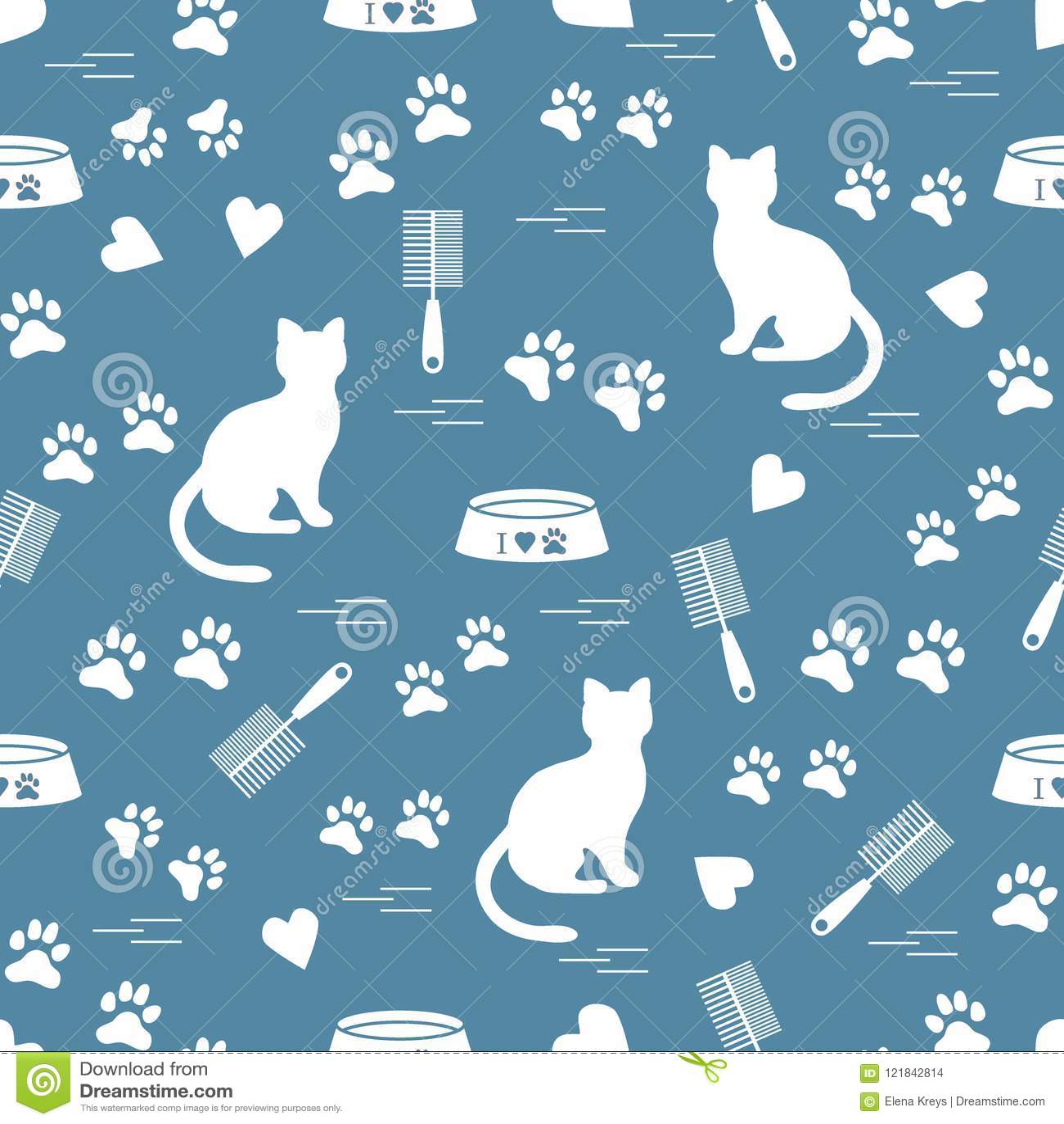 Ładny wzór sylwetka siedzący kot, ślada, serca, puchar i