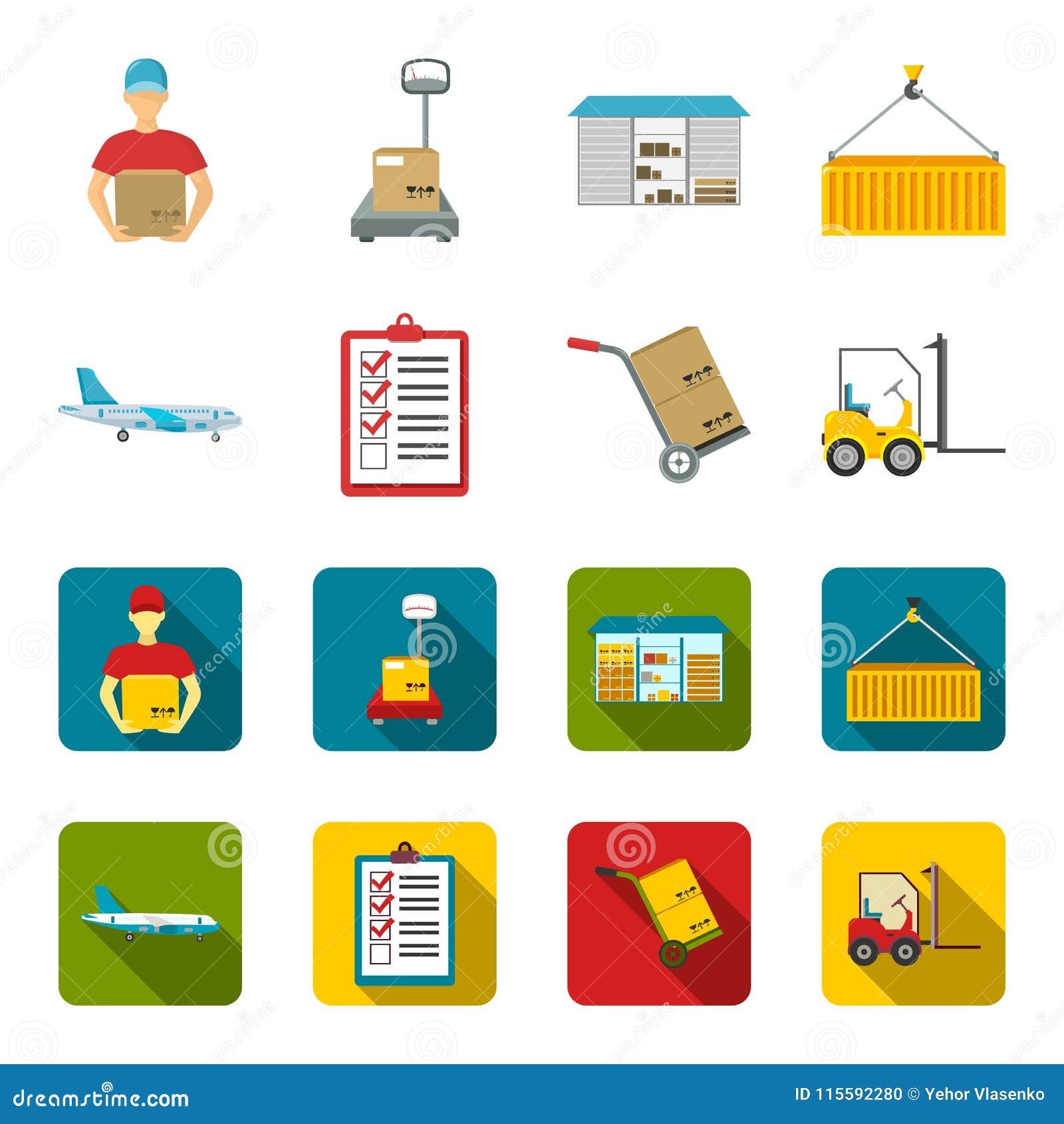 Ładunku samolot, fura dla transportu, pudełka, forklift, dokumenty Logistycznie, ustawia inkasowe ikony w kreskówce, mieszkanie s