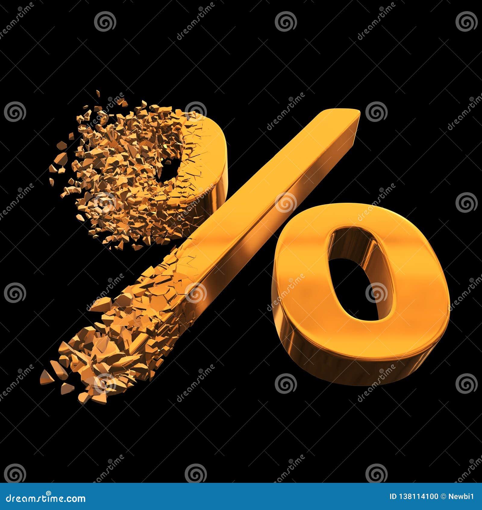 Łamający procentu rabata znak 3d