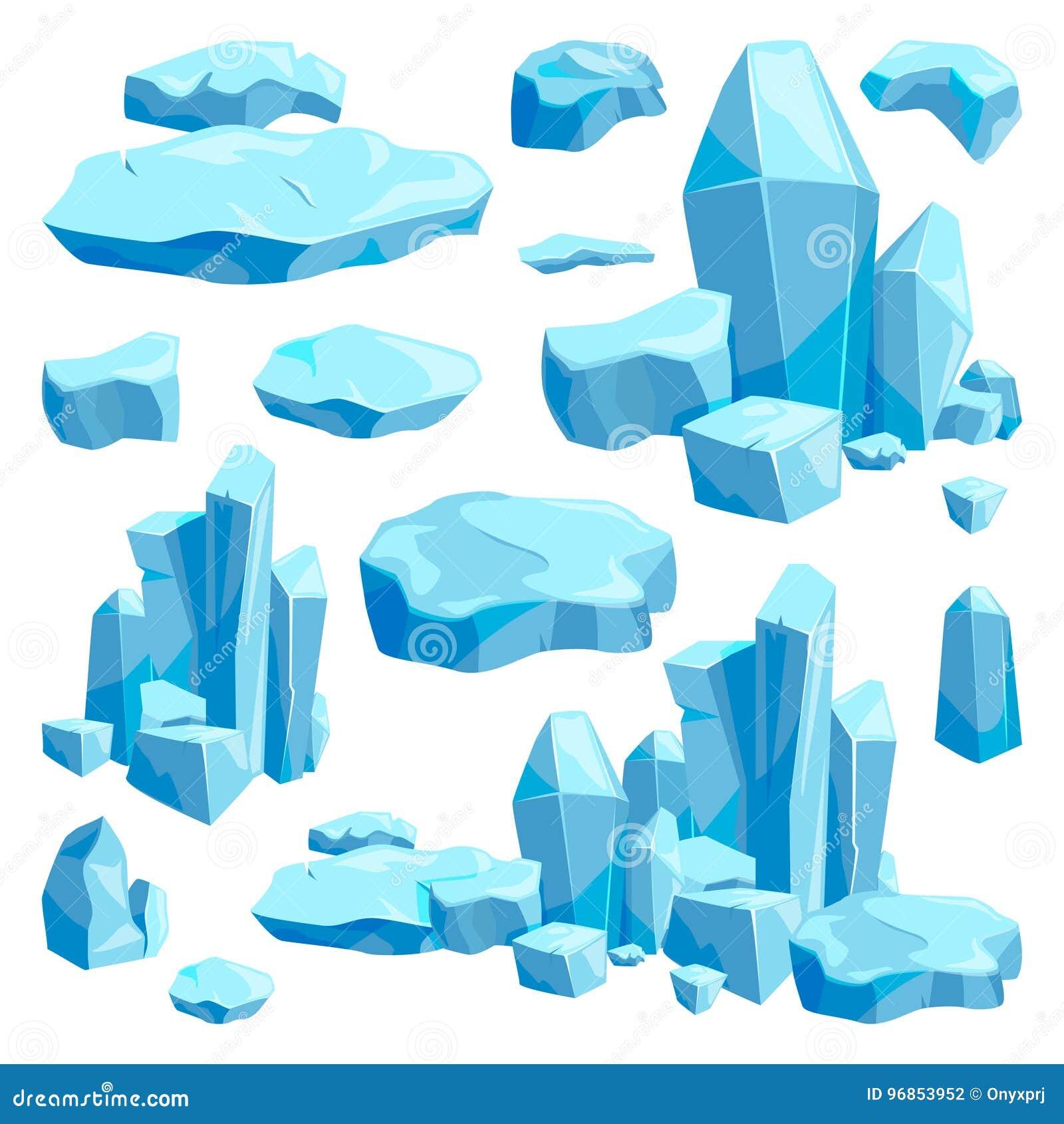 Łamani kawałki lód Gemowego projekta wektorowe ilustracje w kreskówka stylu