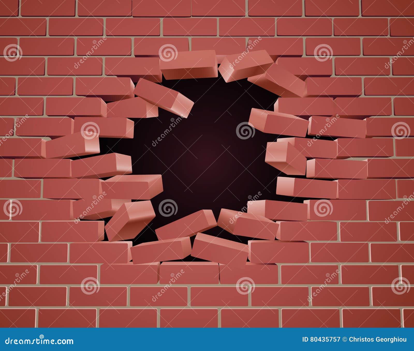 Łamania ściana z cegieł dziura