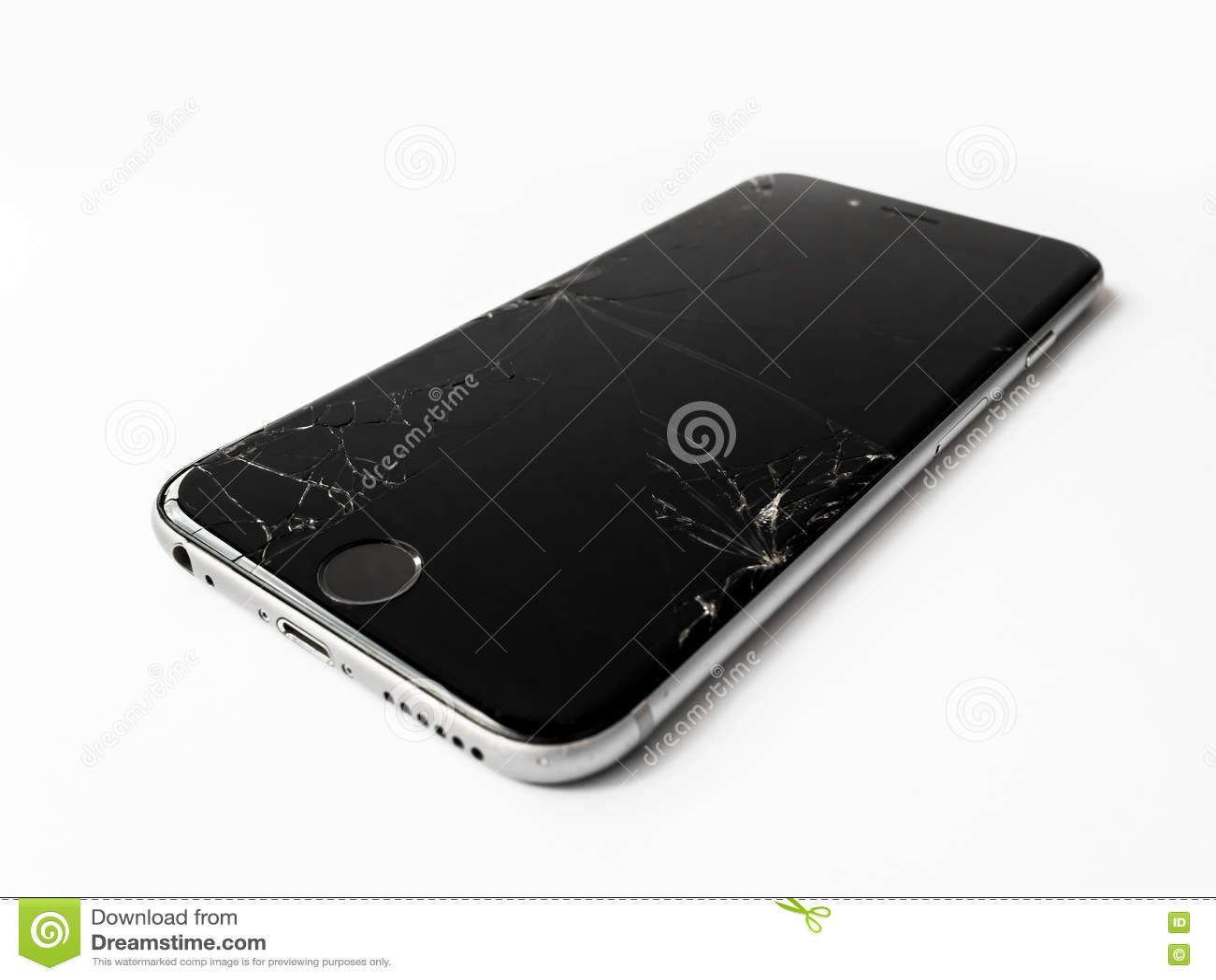 Łamany Jabłczany iPhone 6 z krakingowym ekranem