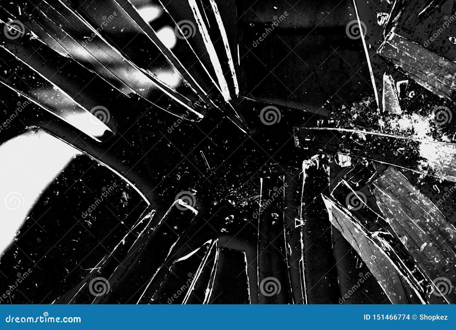 Łamany szklany tekstury tło w czarny i biały z wiele zniweczonymi częściami i kawałkami Projektująca akcyjna fotografia pożyteczn