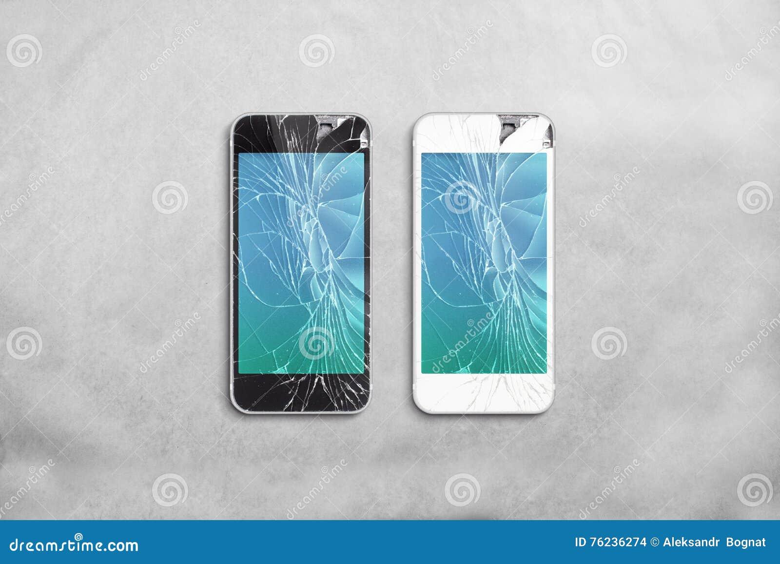 Łamany telefonu komórkowego ekran, czerń, biel, ścinek ścieżka