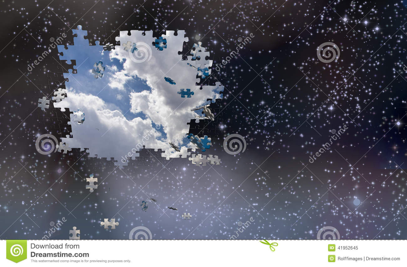 Łamigłówka kawałków spadek od nocnego nieba