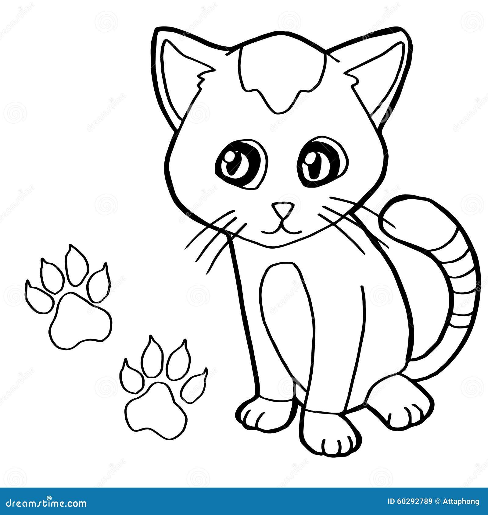 Łapa druk z kot kolorystyki strony wektorem