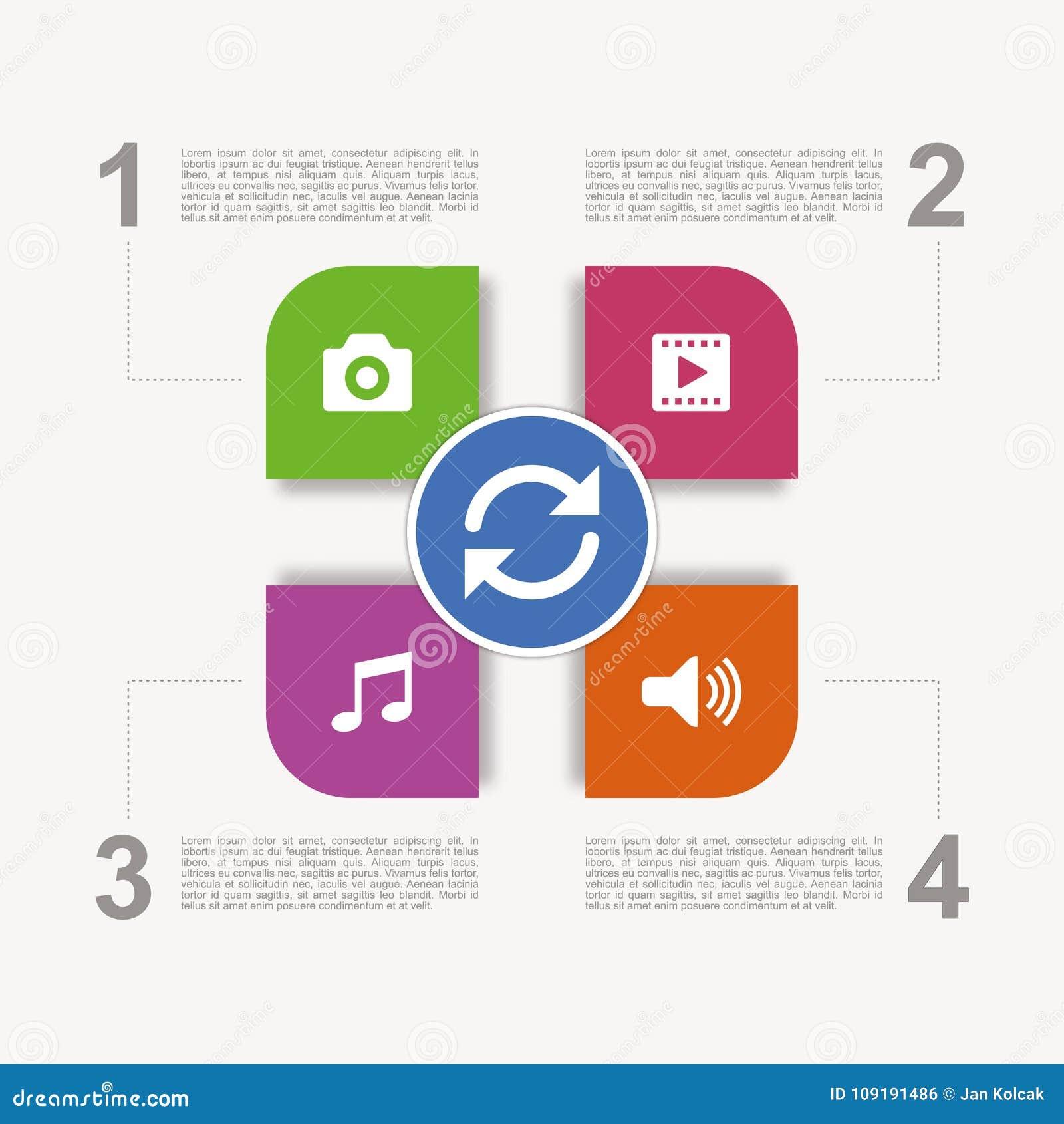 Łatwa zmodyfikowana multimedialna infographic prezentacja