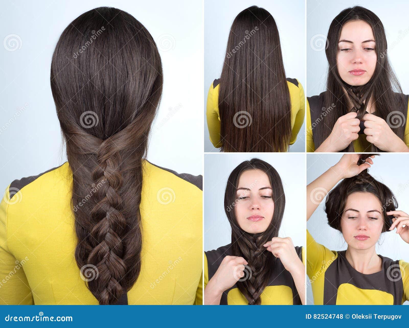 łatwy Warkocz Fryzury Tutorial Zdjęcie Stock Obraz