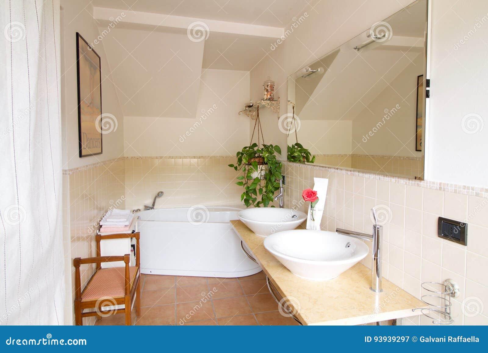 łazienka I Para Washbasins W Dom Na Wsi Obraz Stock Obraz