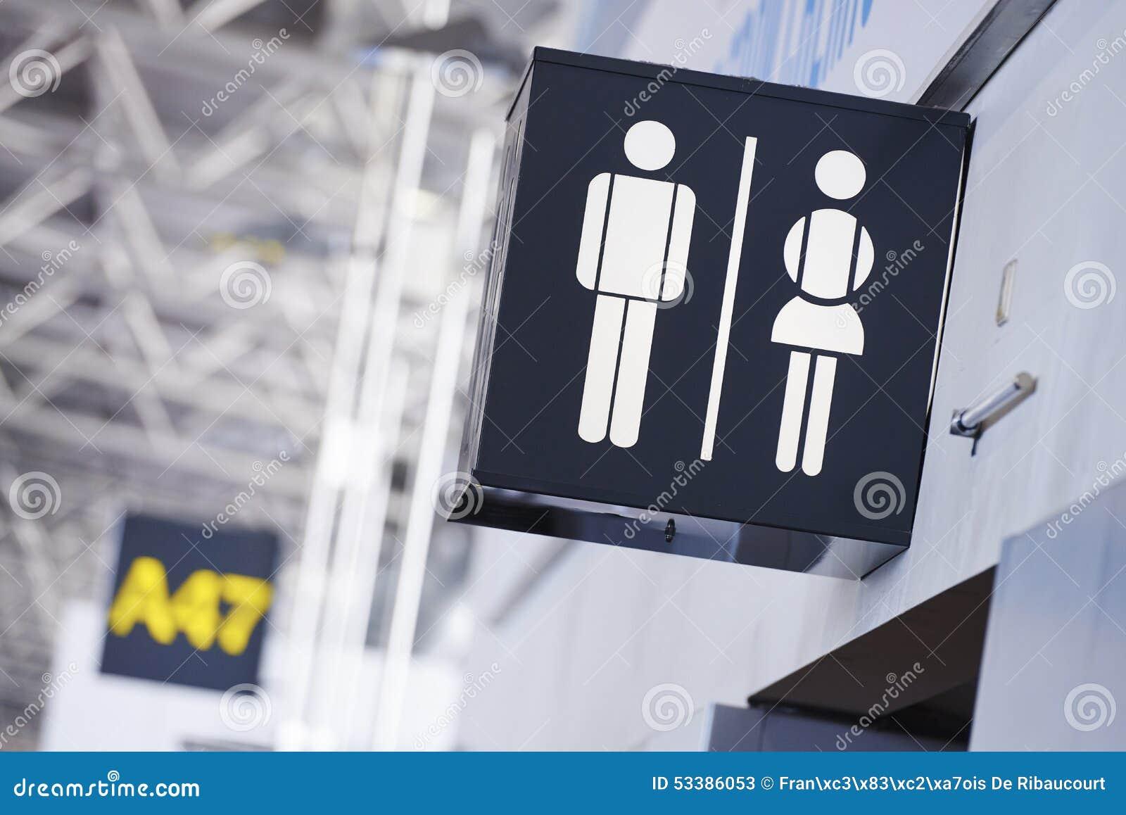 Łazienka podpisuje wewnątrz lotnisko