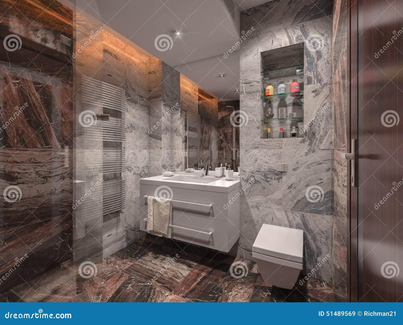 łazienka W Szarość I Brązu Kamieniu Z Białą łazienką