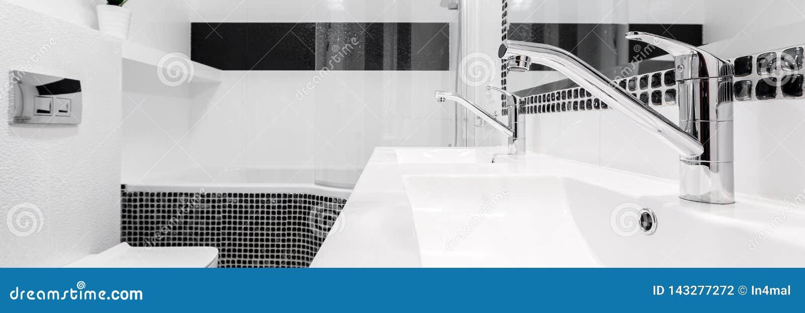 Łazienka z dwa zlew, panorama