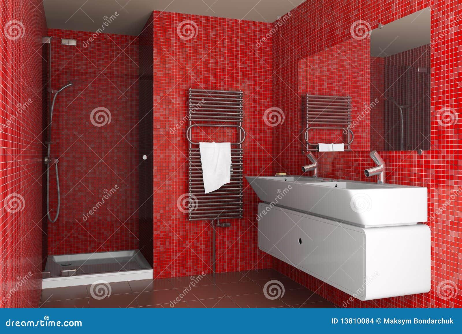 łazienki nowożytne mozaiki czerwieni płytki