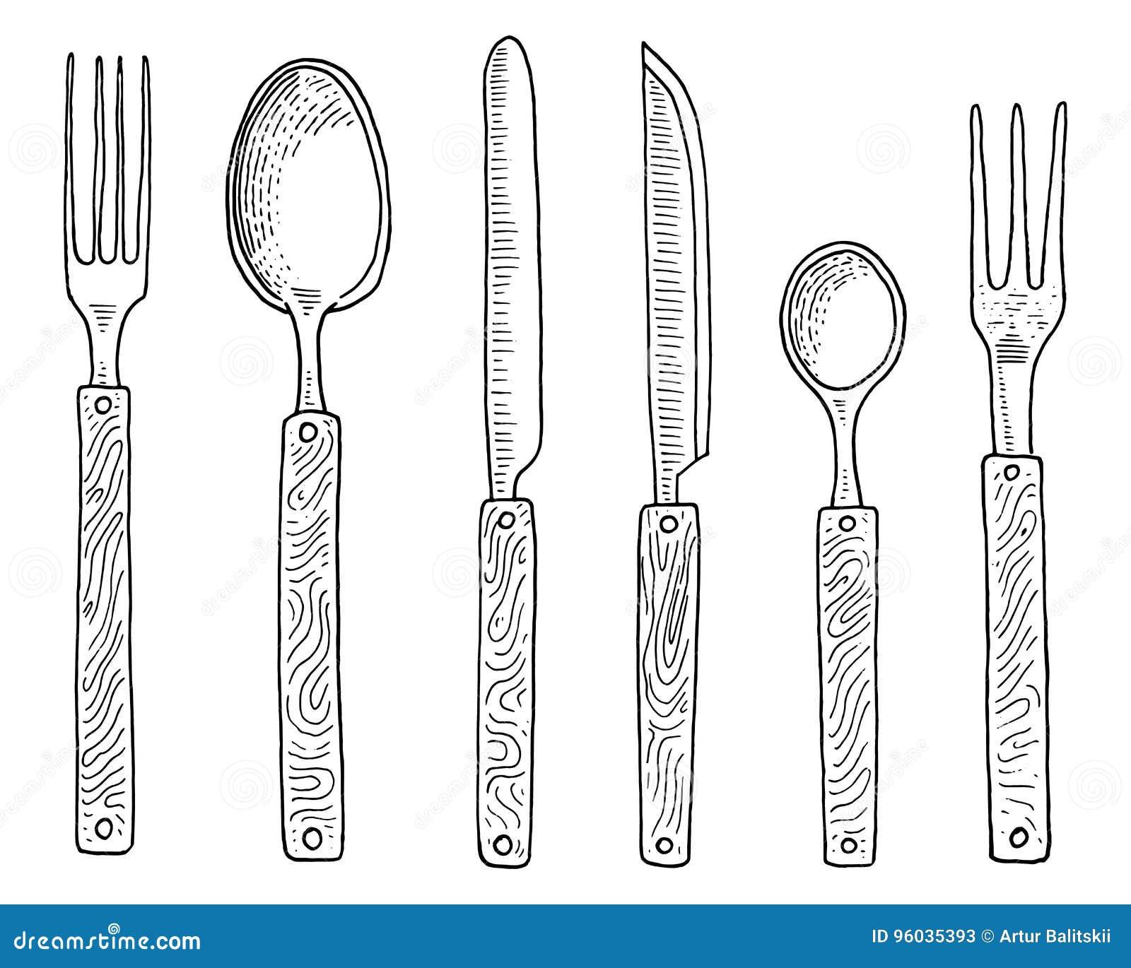 Łomotać lub przekąska rozwidlamy dla ostryg, lody łyżka i nóż dla, deseru, masło lub pieczenie kuchenni naczynia, gotuje