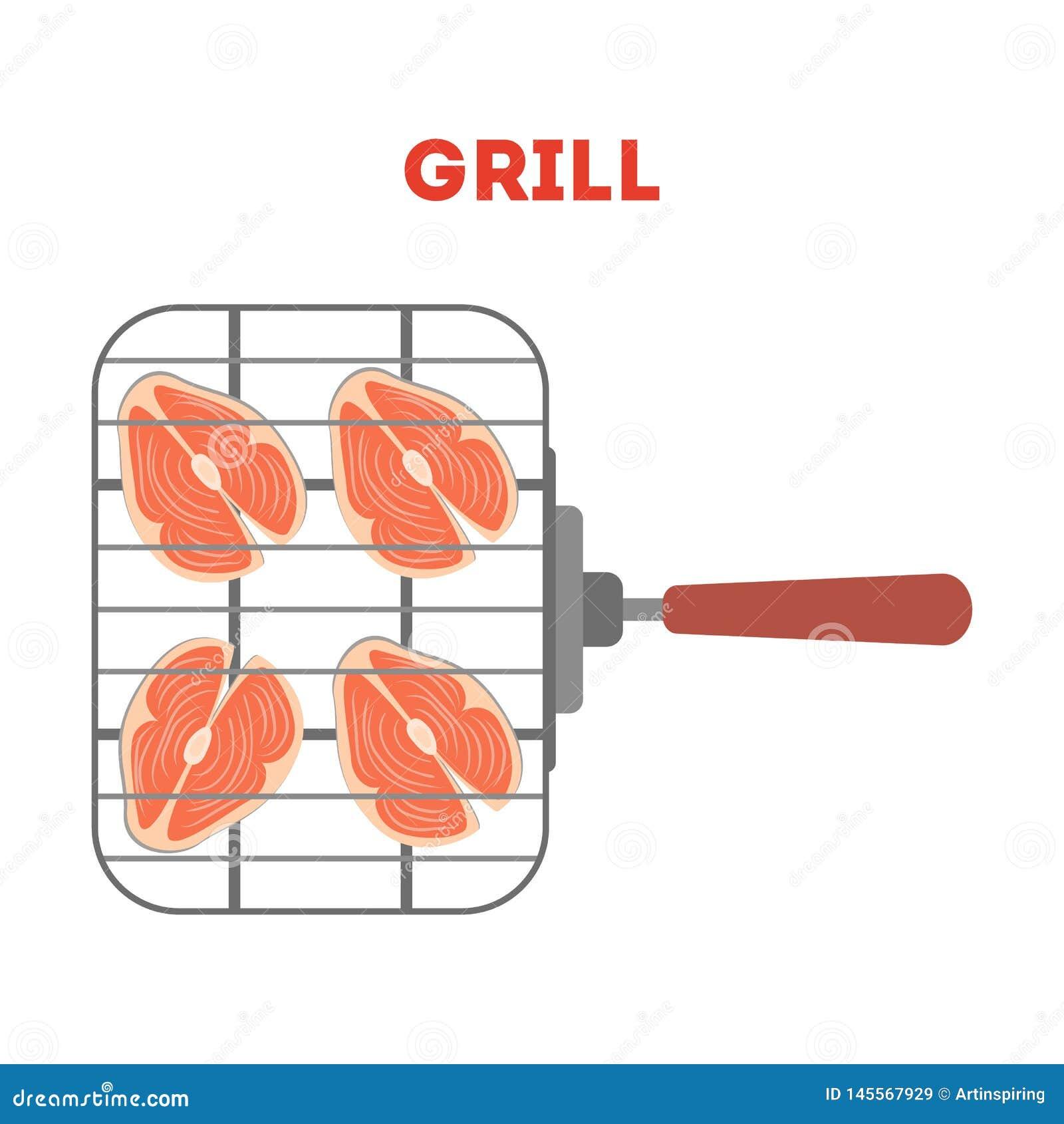 Łososiowy stek na grill kratownicie ?wie?a smakowita ryba