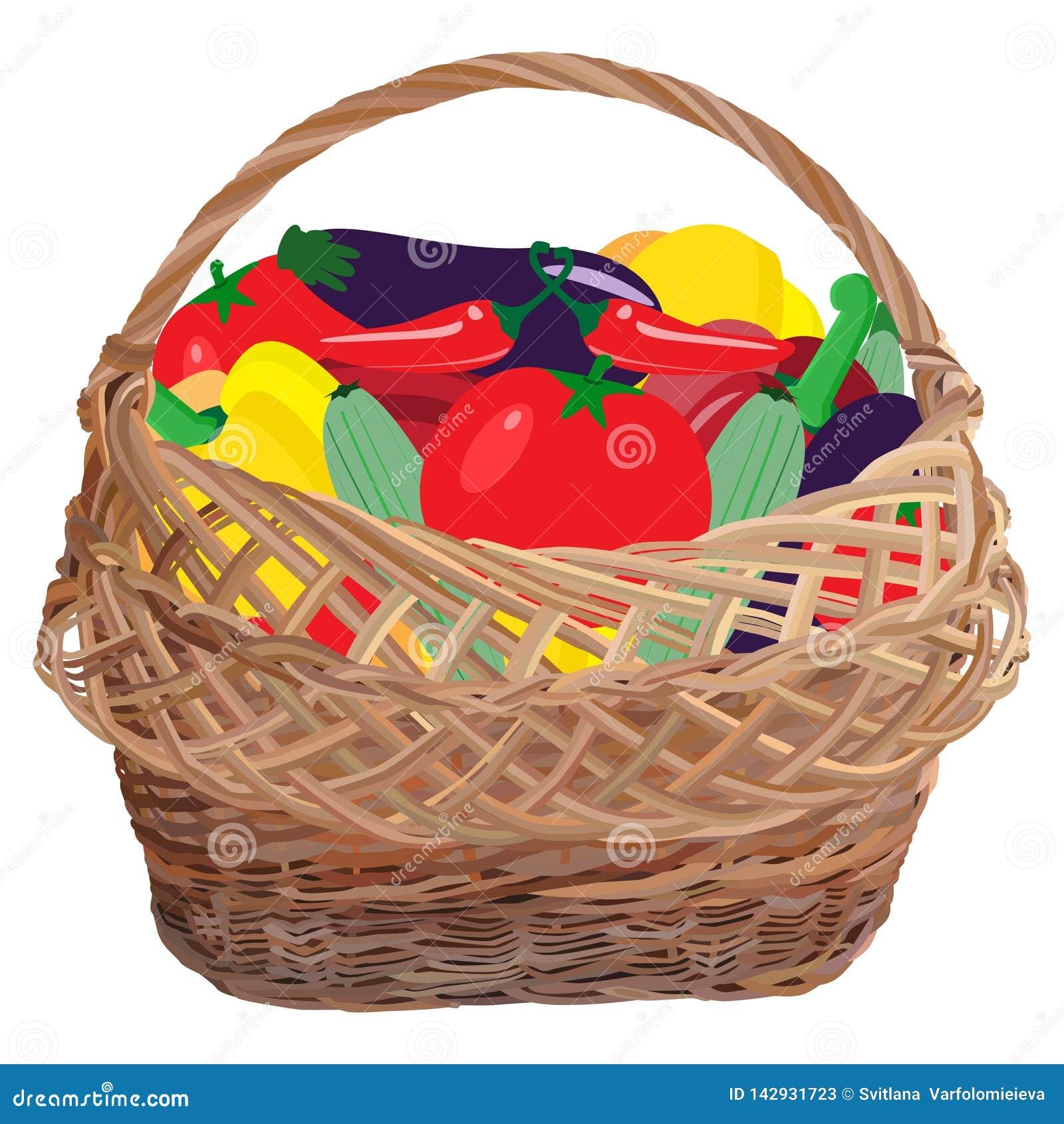Łozinowy kosz pełno świezi warzywa, wektorowa płaska ilustracja