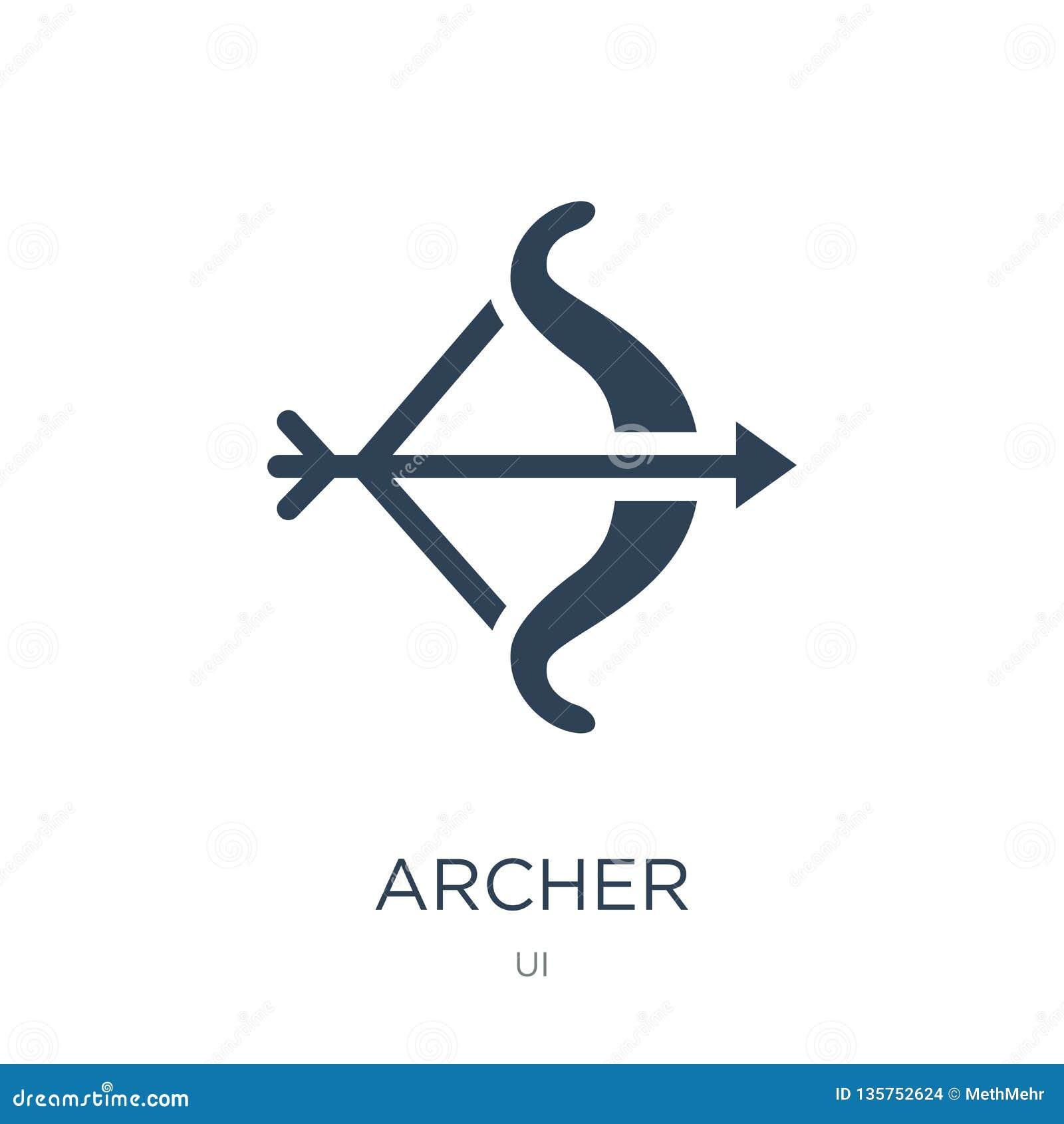 łuczniczki ikona w modnym projekta stylu Archer ikona odizolowywająca na białym tle łuczniczki wektorowej ikony prosty i nowożytn