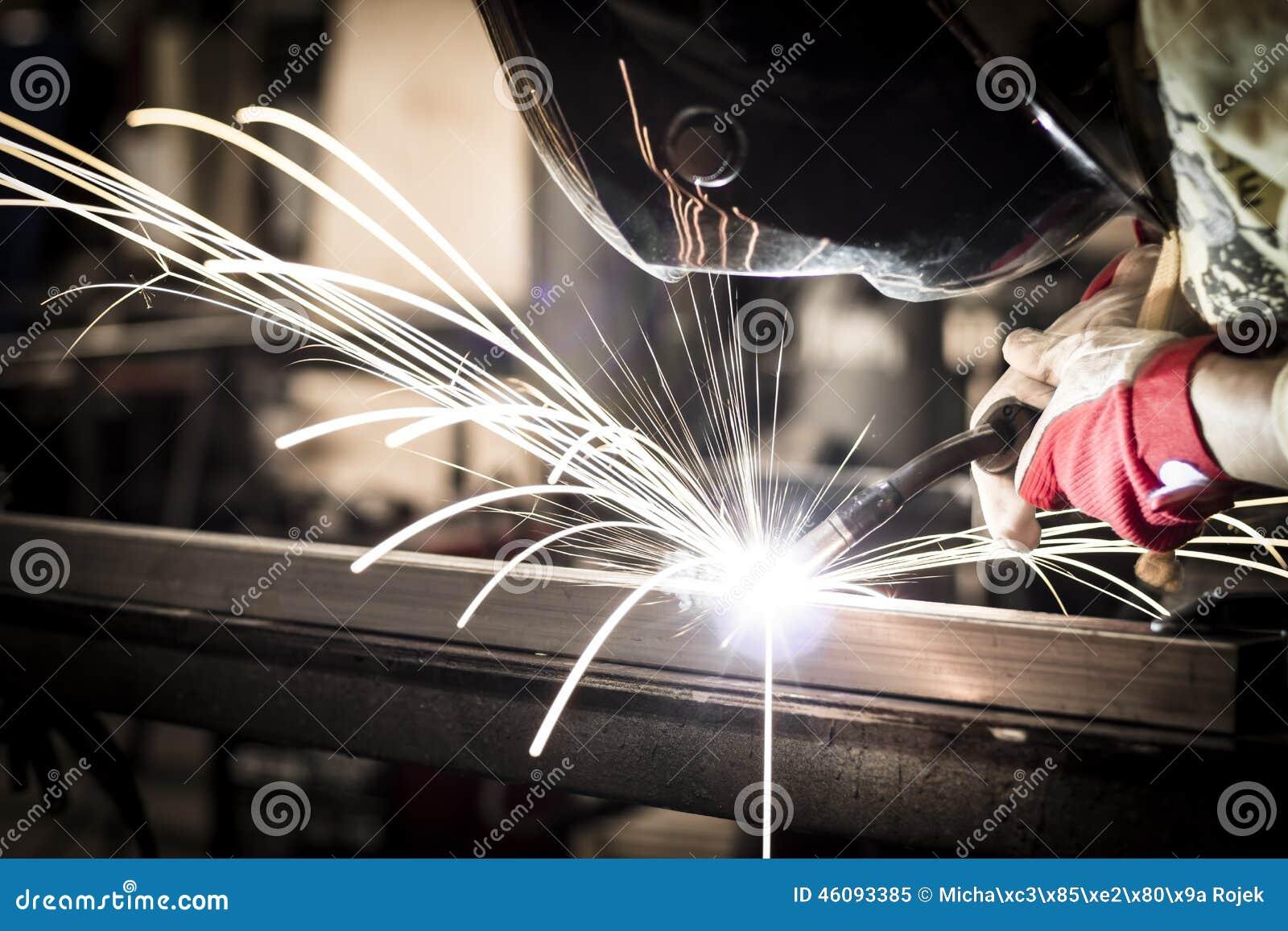 łuku elding hełma światła osłona iskrzy stalowego spaw