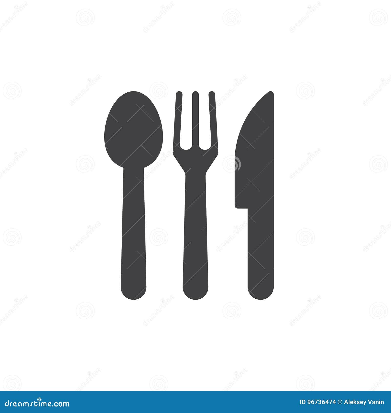 Łyżka, rozwidlenie, nóż Cutlery ikony wektor,