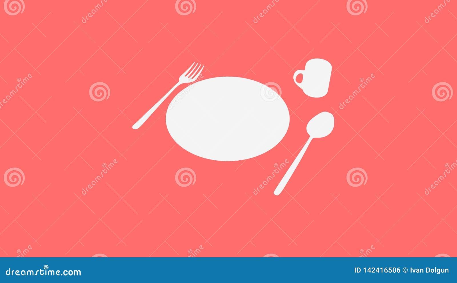 Łyżka, rozwidlenie, talerz i filiżanka na czerwieni