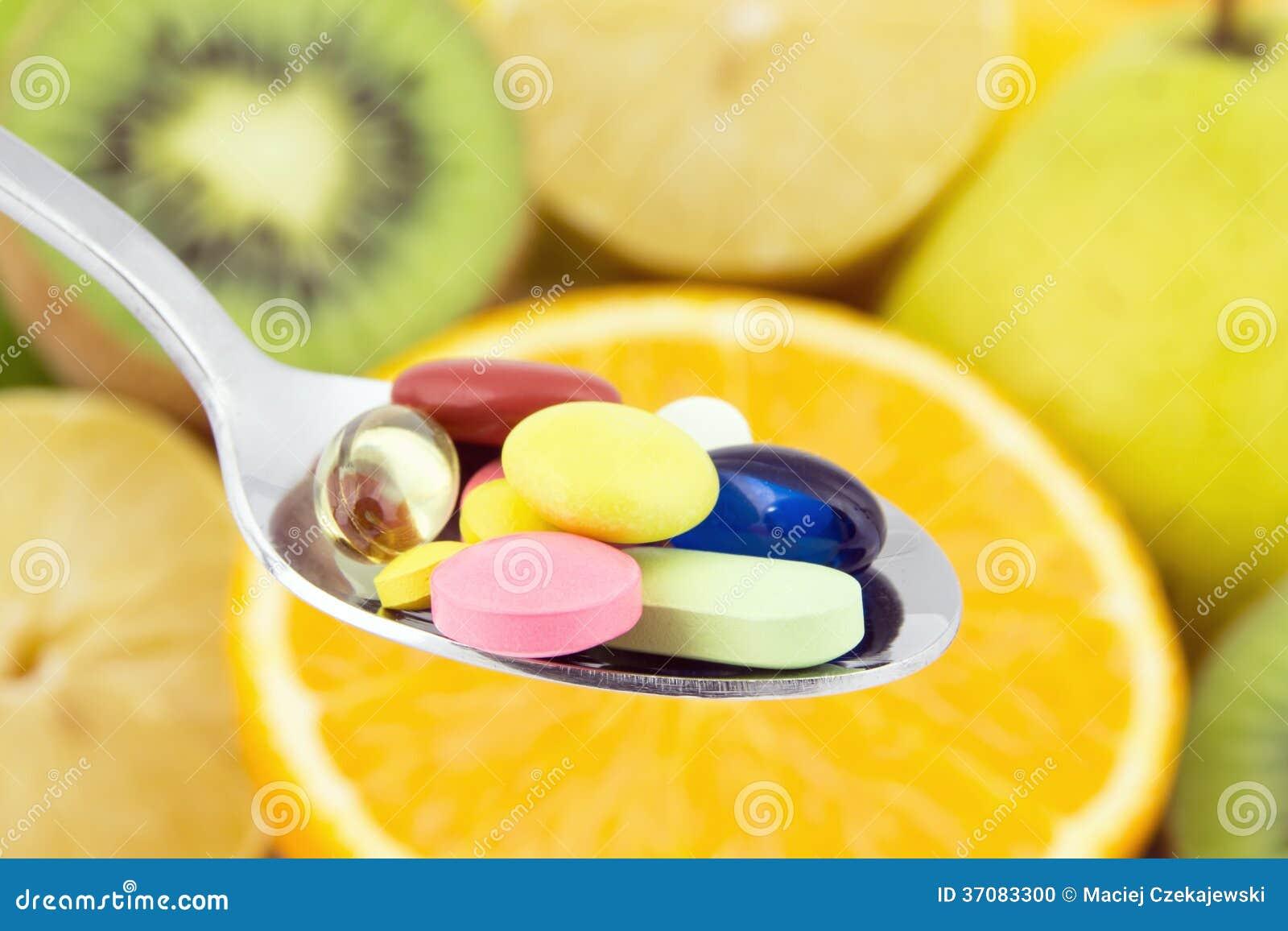 Download Łyżkowy Pełny Kolorowe Pigułki Zdjęcie Stock - Obraz złożonej z świeży, medycyna: 37083300