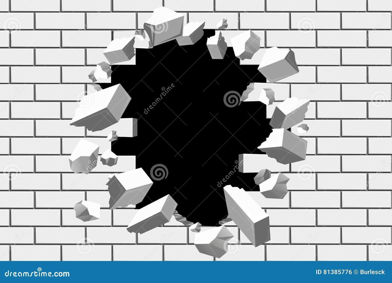 Ściana z cegieł przerwy wektoru tło Zniszczona bariera dla biznesu i dokonuje cel ilustracje